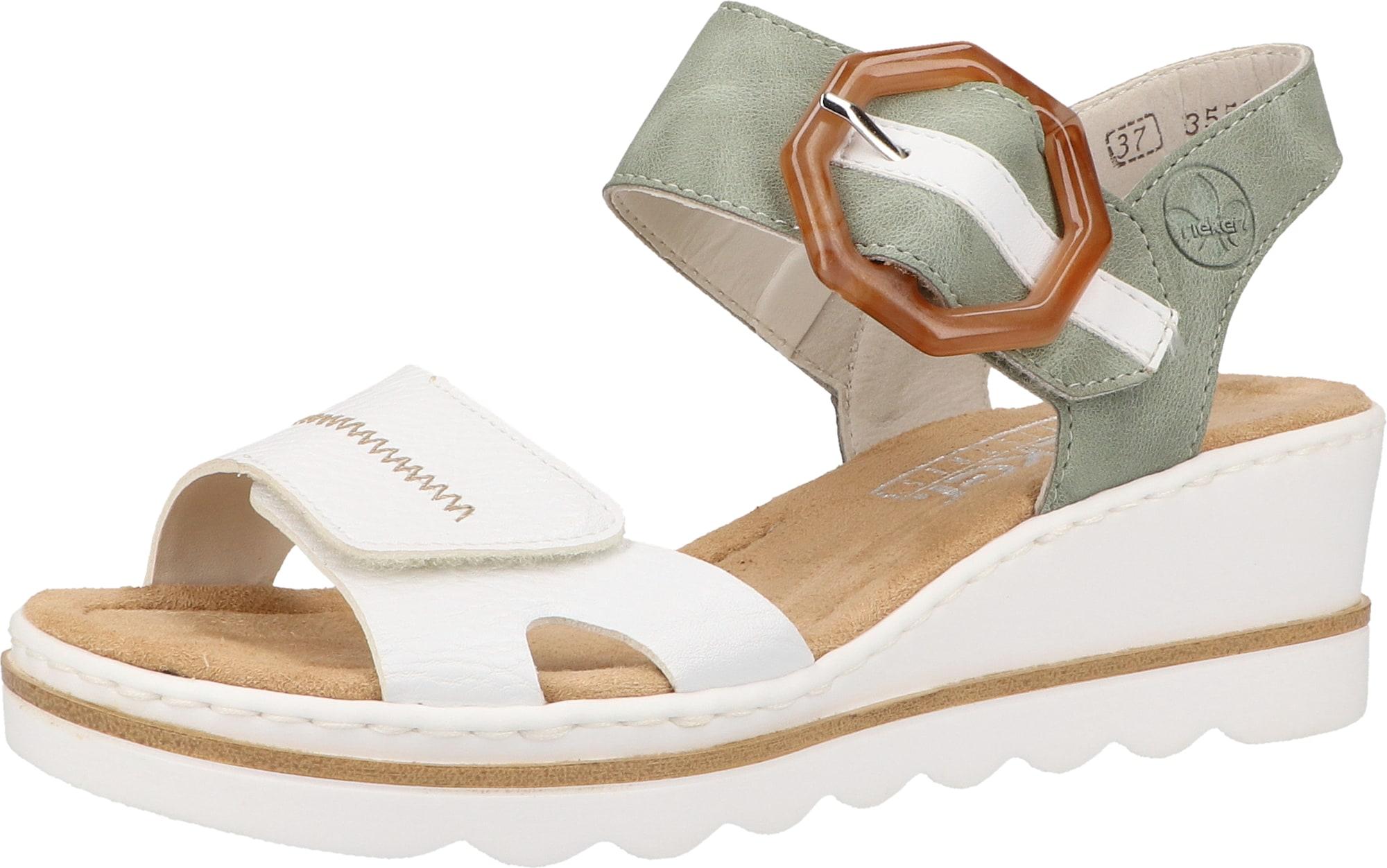 RIEKER Sandály  mátová / bílá