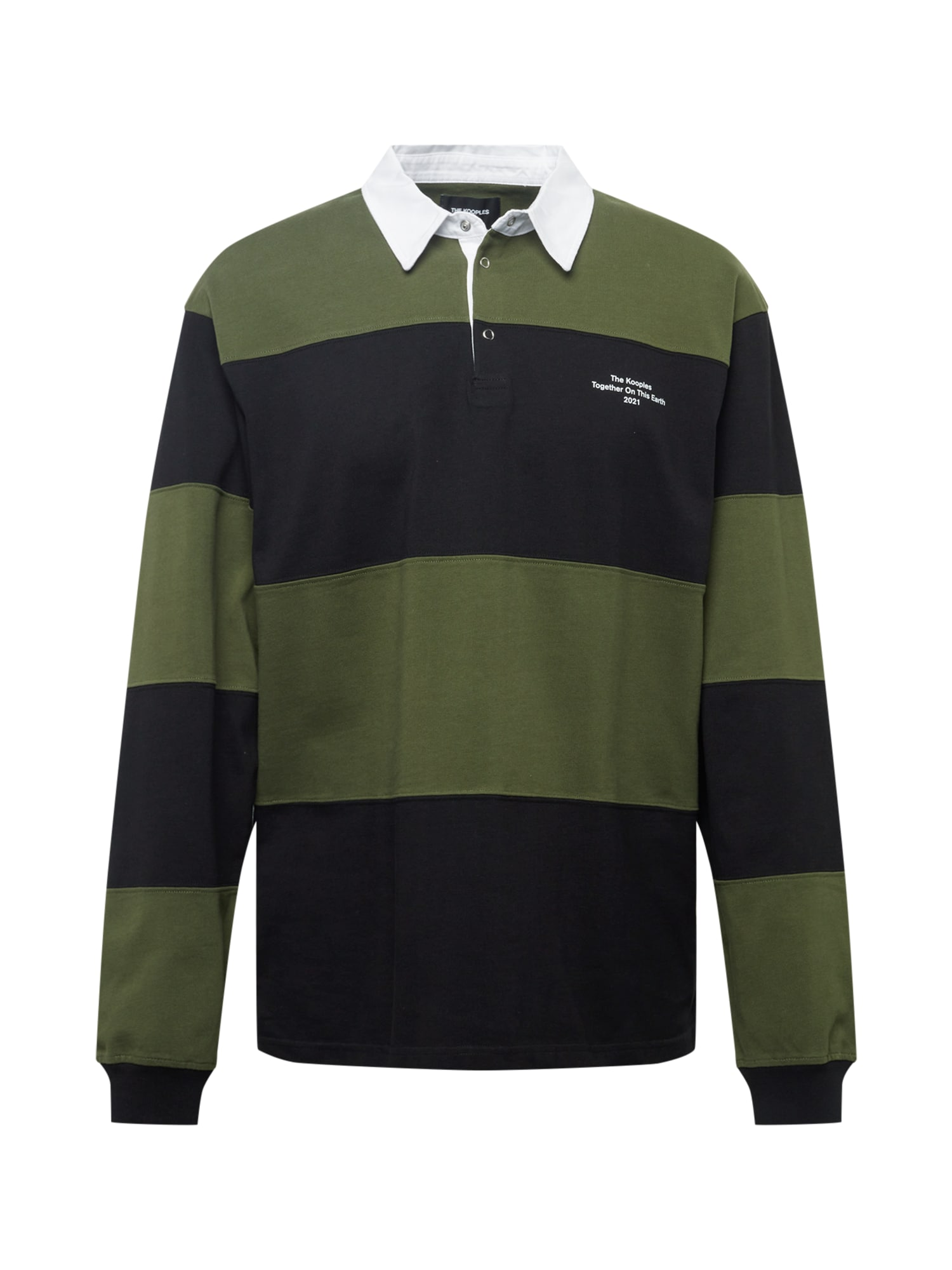 The Kooples Marškinėliai juoda / balta / rusvai žalia
