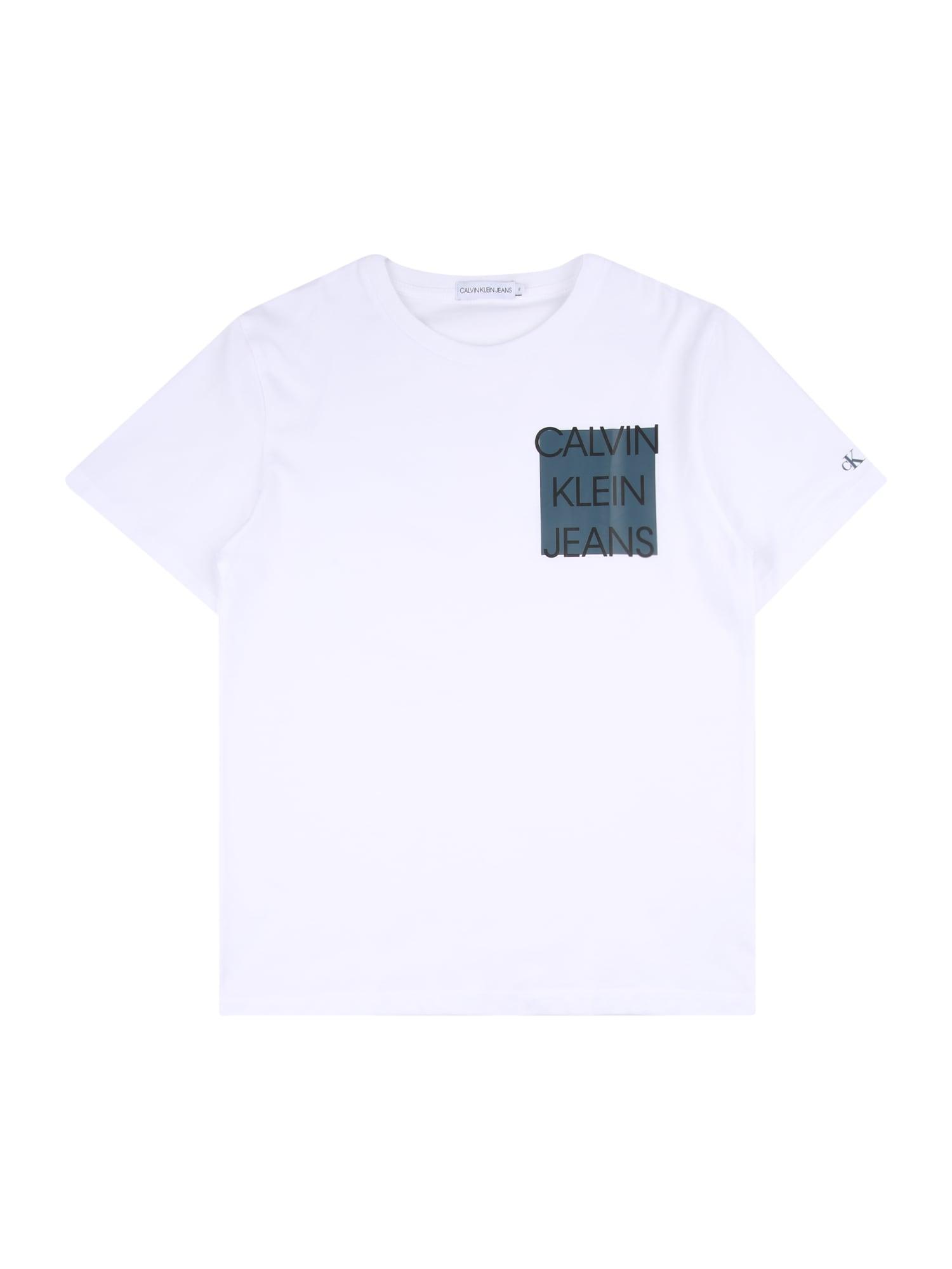 Calvin Klein Jeans Marškinėliai balta / juoda / pastelinė mėlyna
