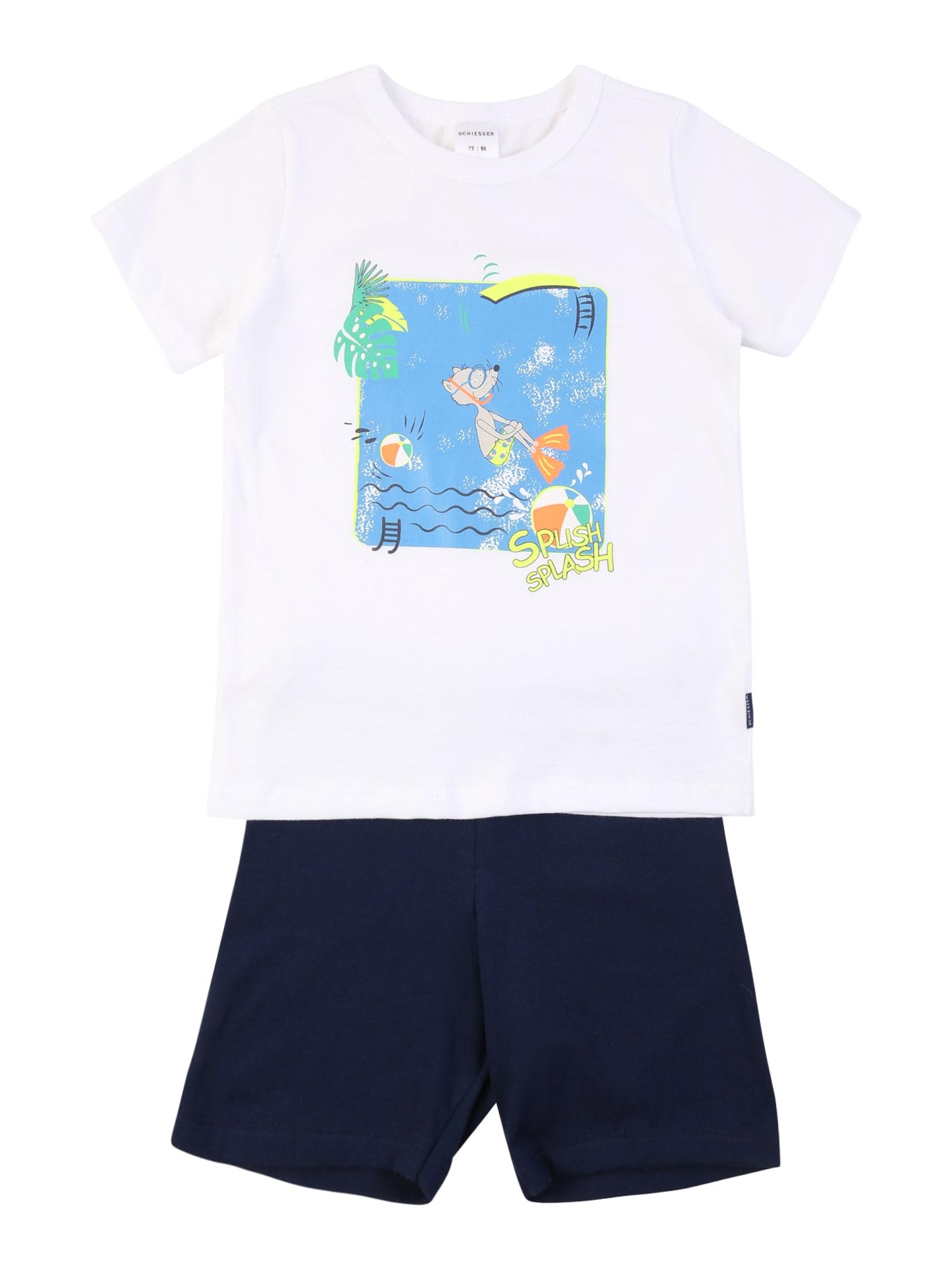 SCHIESSER Miego kostiumas balta / tamsiai mėlyna / šviesiai mėlyna / nefrito spalva / oranžinė