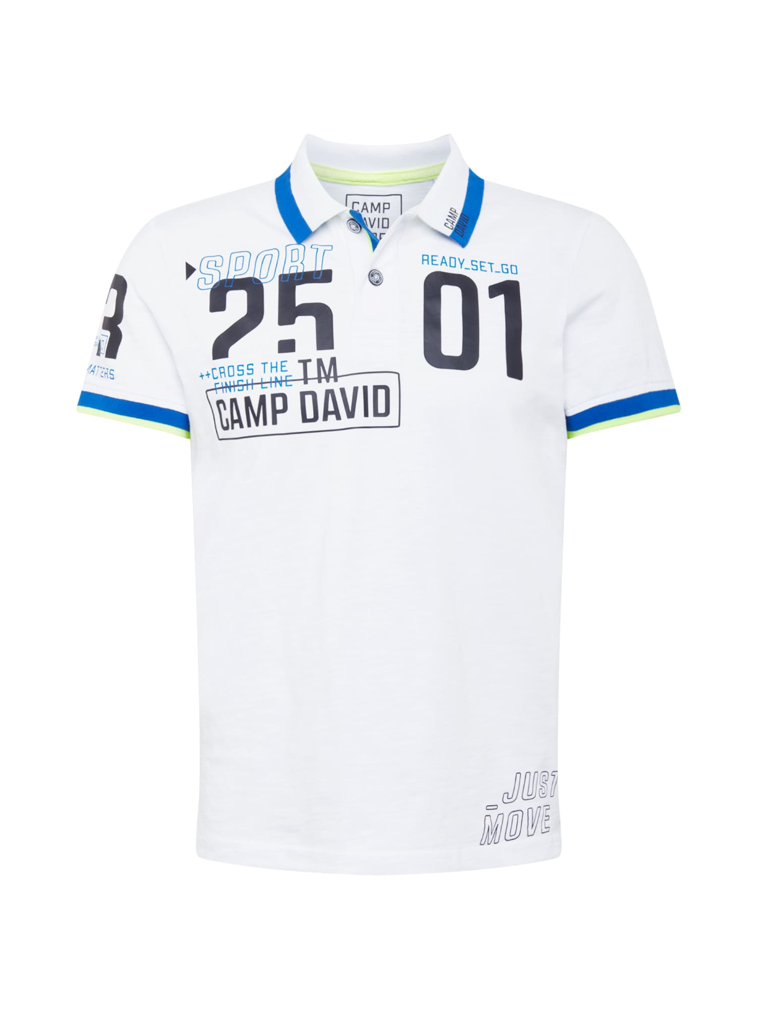 CAMP DAVID Marškinėliai balta / mėlyna / dangaus žydra / juoda / neoninė geltona