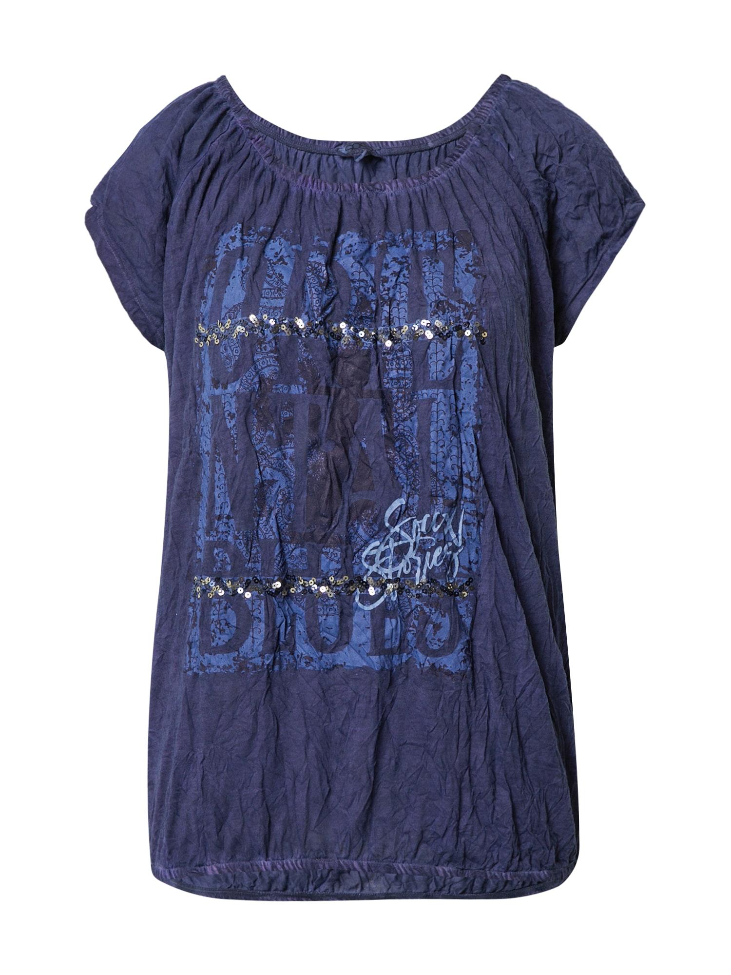 Soccx Marškinėliai tamsiai mėlyna / mėlyna dūmų spalva / sidabrinė