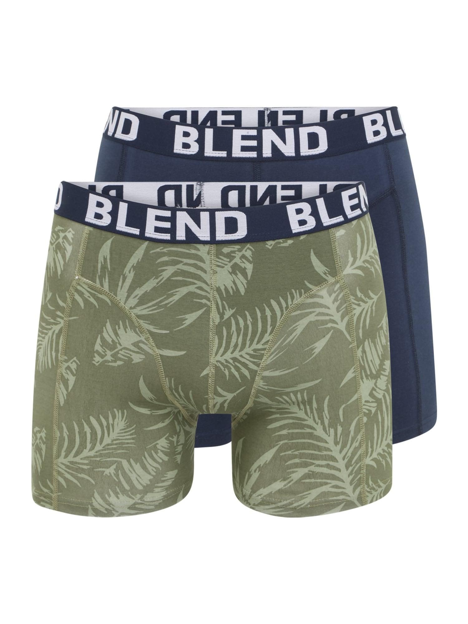 BLEND Boxer trumpikės tamsiai mėlyna / alyvuogių spalva