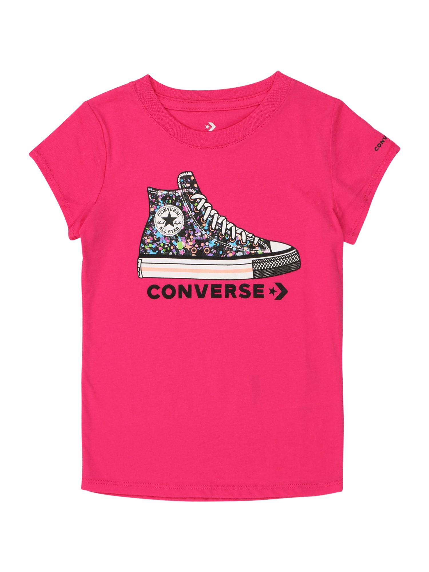 CONVERSE Marškinėliai 'RHINESTONE' rožinė / juoda / mišrios spalvos