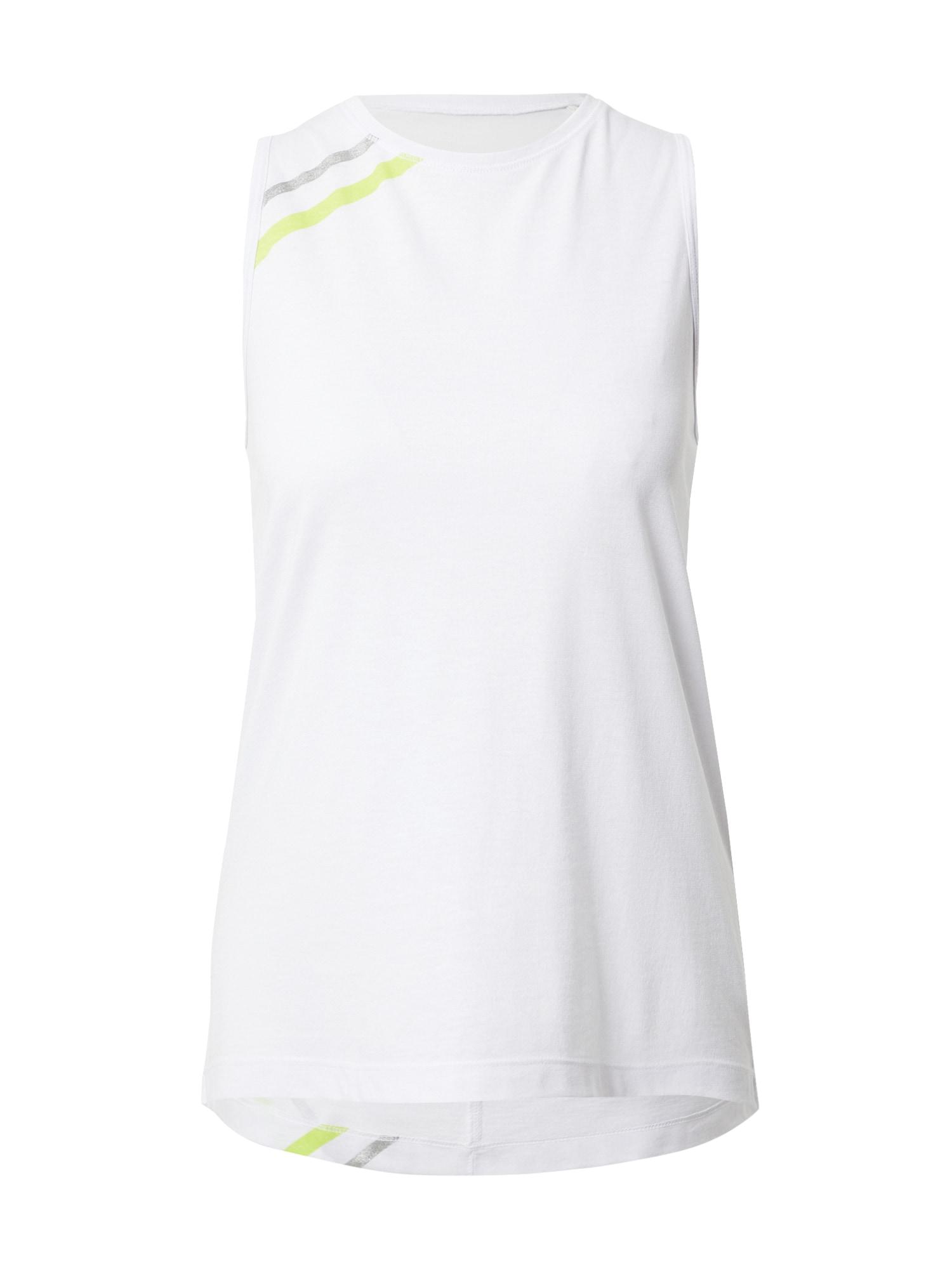 ESPRIT SPORT Sportiniai marškinėliai be rankovių balta / obuolių spalva / margai pilka