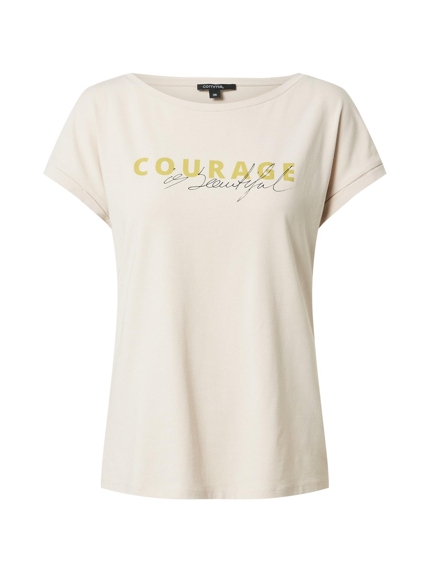 COMMA Marškinėliai glaisto spalva / aukso geltonumo spalva / juoda