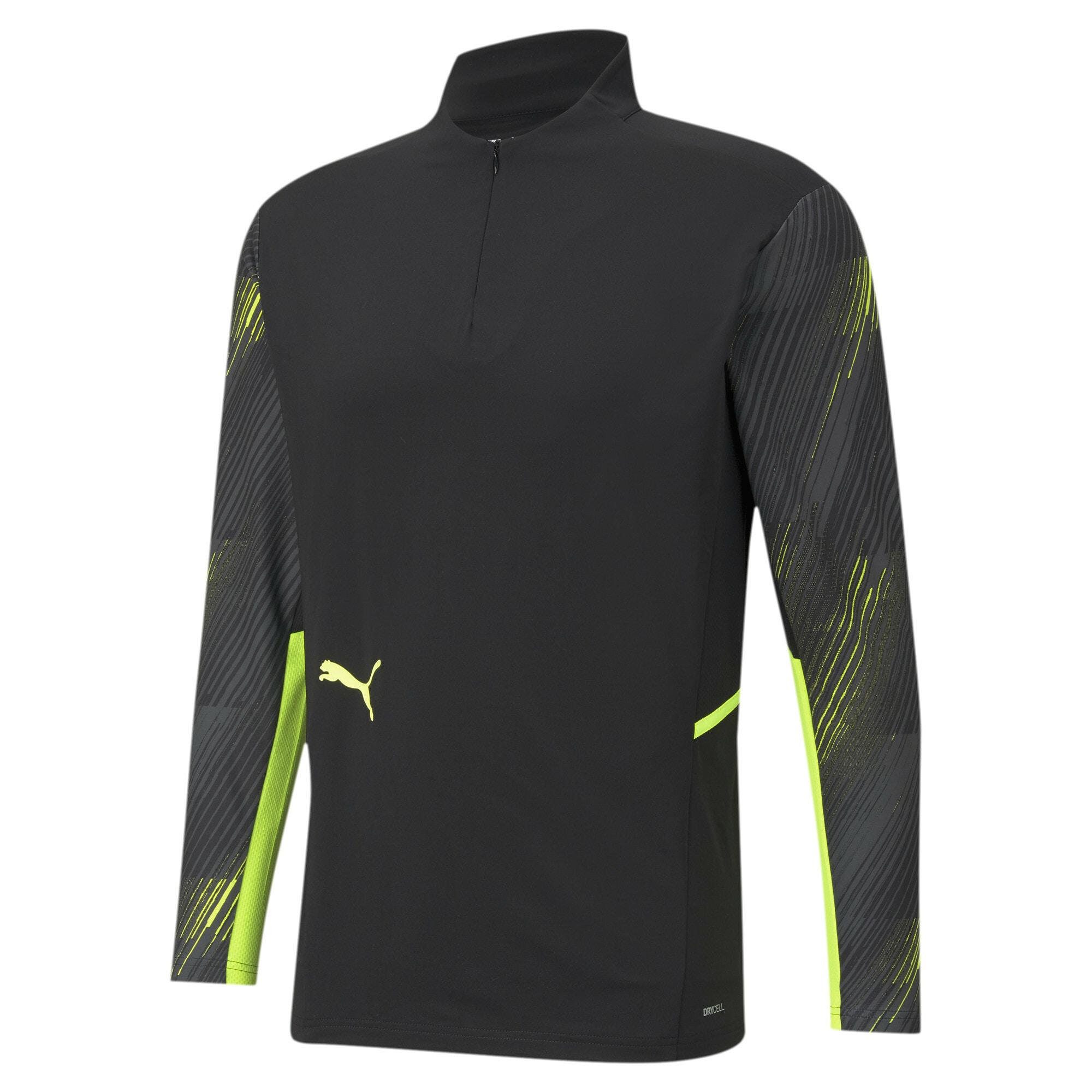 PUMA Sportiniai marškinėliai juoda / neoninė geltona