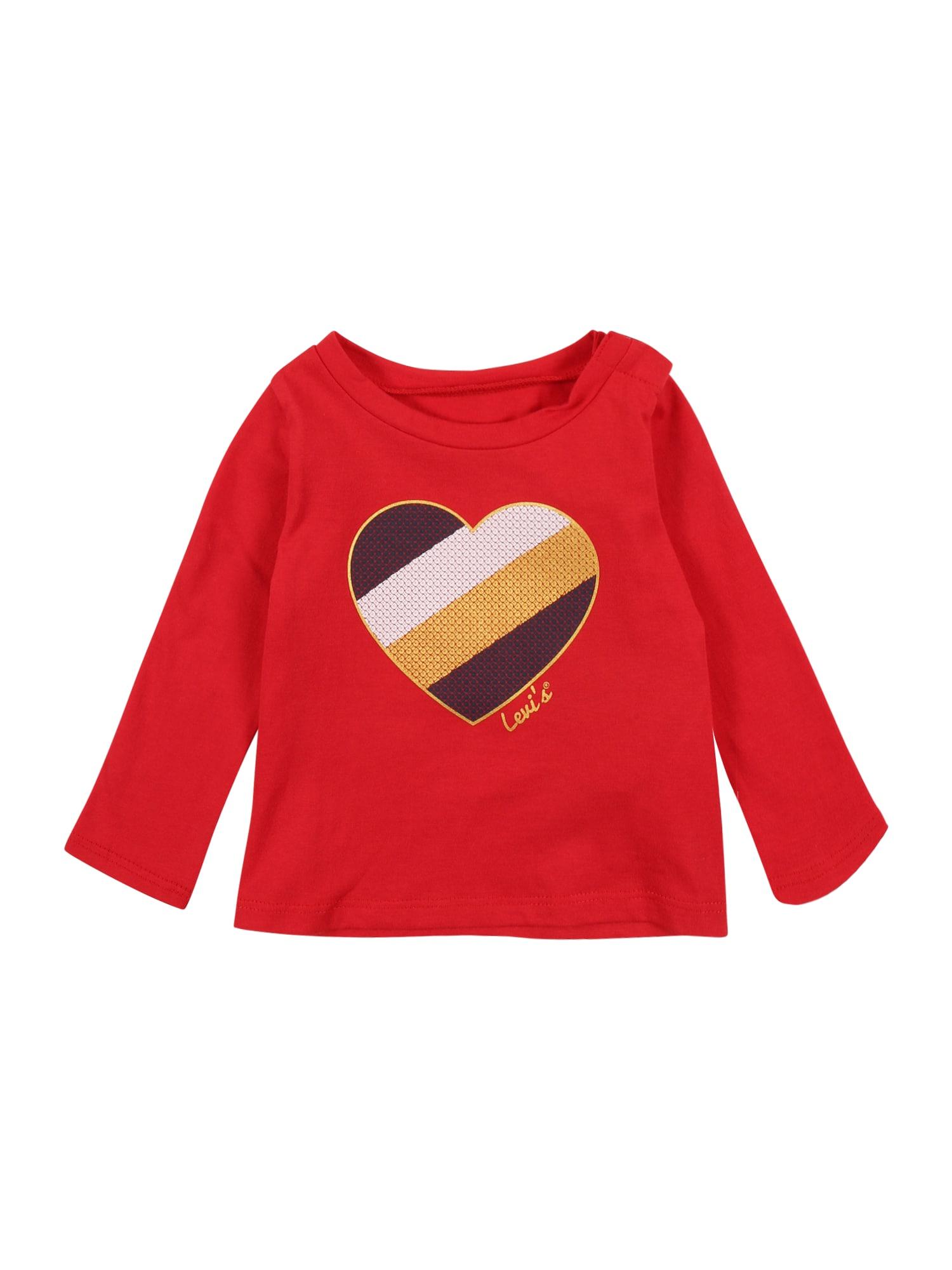 LEVI'S Marškinėliai raudona / aukso geltonumo spalva / balta / tamsiai mėlyna jūros spalva