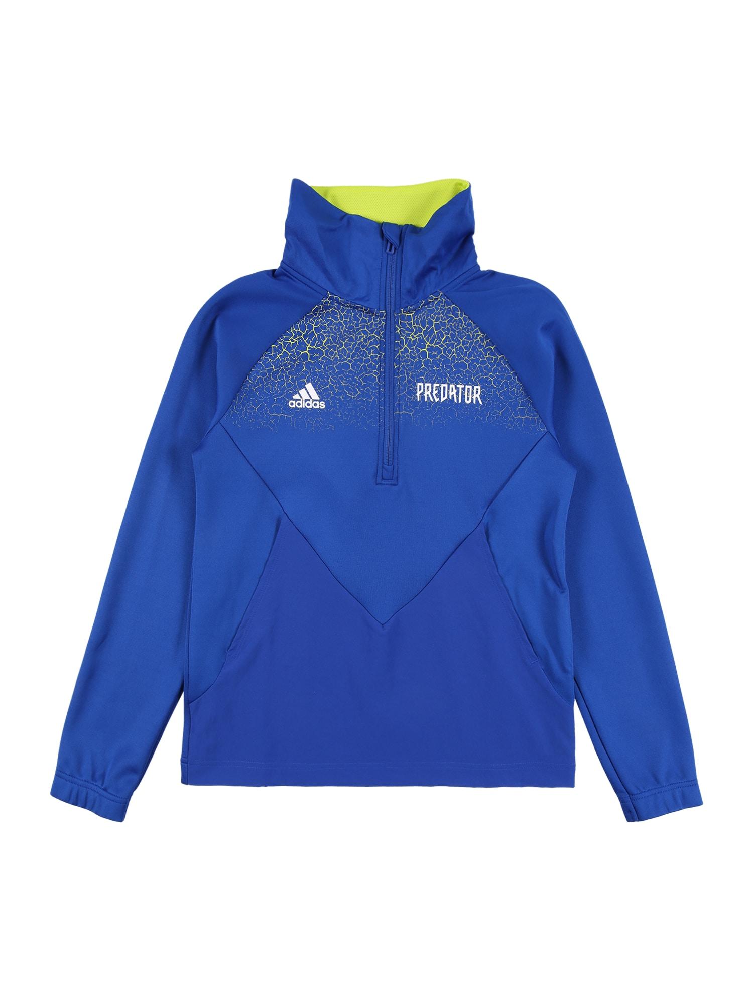 ADIDAS PERFORMANCE Sportiniai marškinėliai mėlyna / neoninė žalia / balta