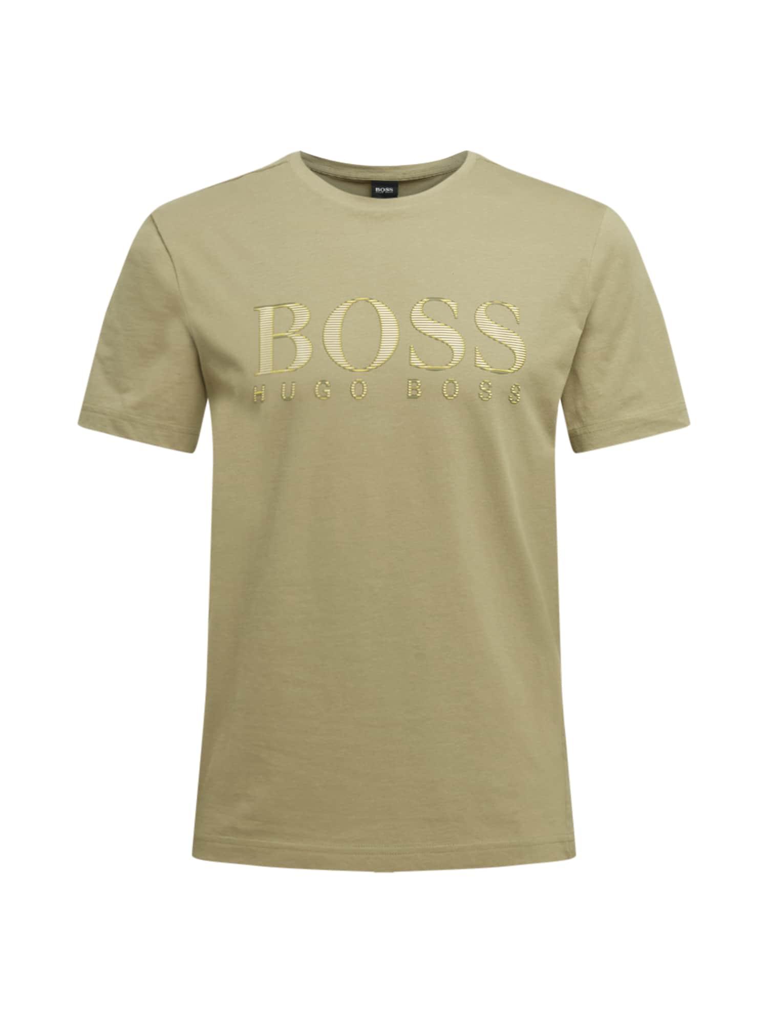BOSS ATHLEISURE Marškinėliai alyvuogių spalva / geltona / balta