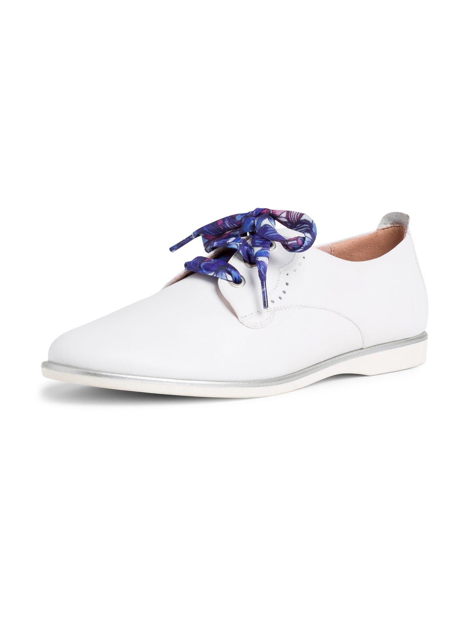 TAMARIS Šněrovací boty  bílá / stříbrná