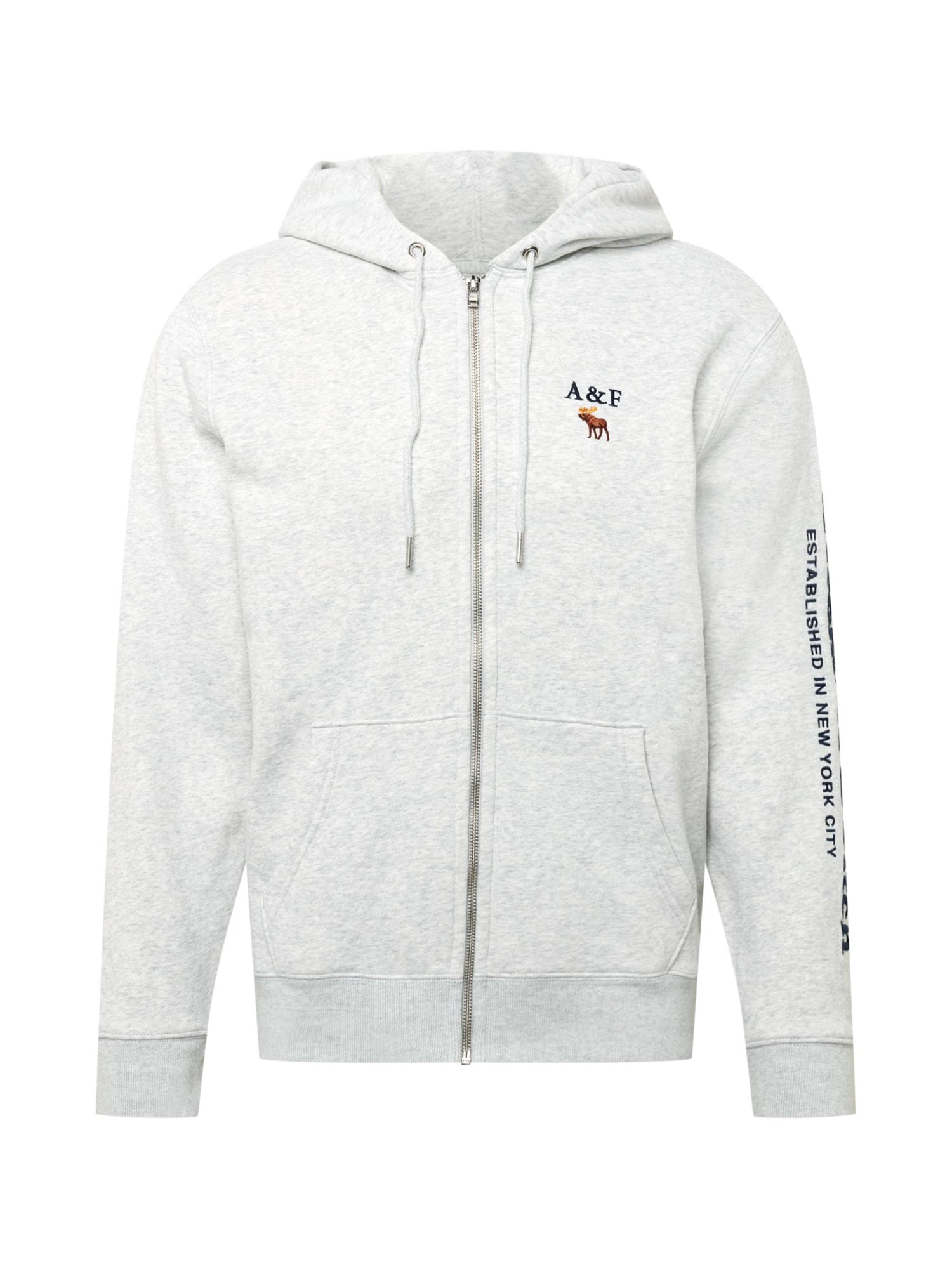 Abercrombie & Fitch Džemperis šviesiai pilka / juoda / balta