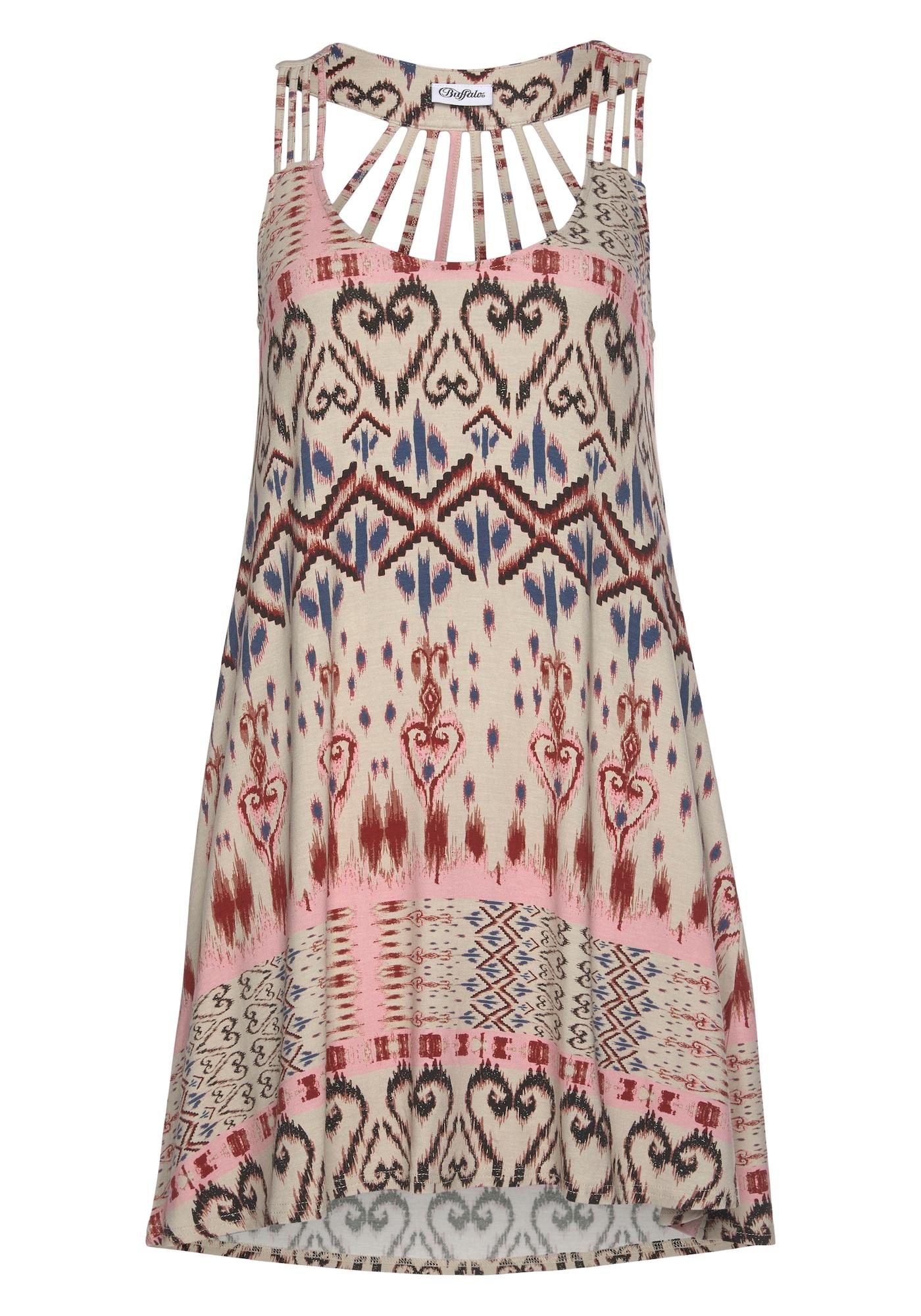 BUFFALO Paplūdimio suknelė kremo / mėlyna / juoda / šviesiai raudona