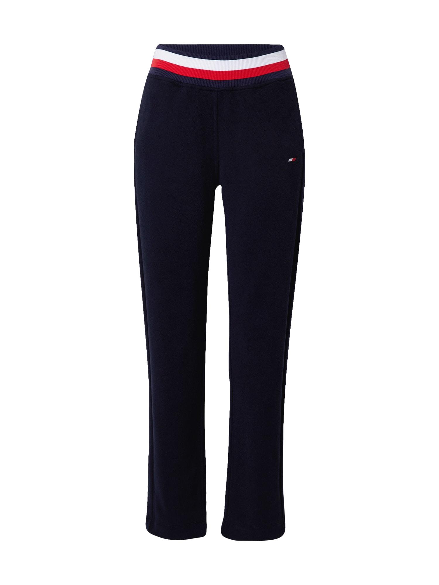 Tommy Sport Sportovní kalhoty  tmavě modrá / bílá / červená