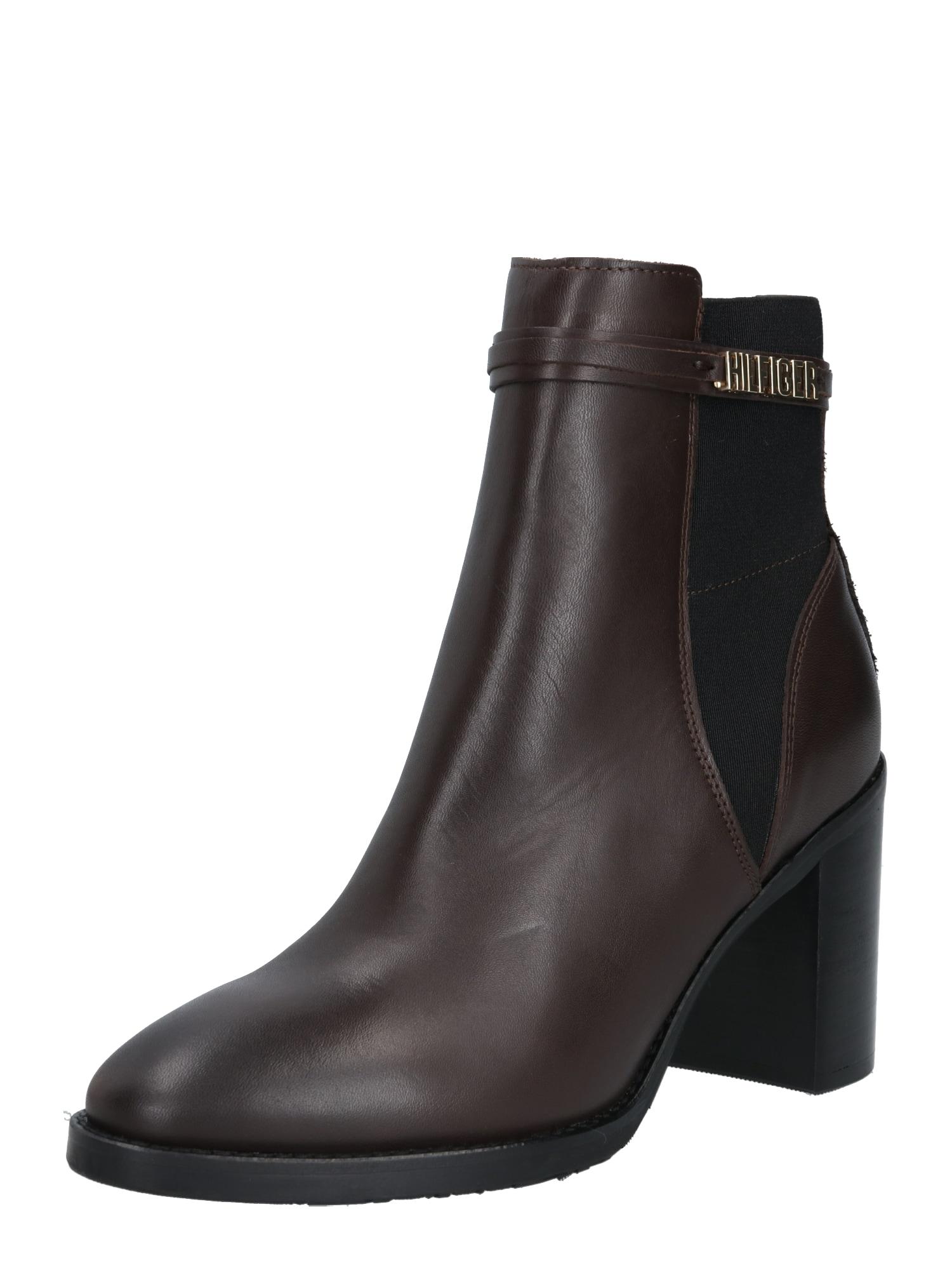 TOMMY HILFIGER Kulkšnis dengiantys batai tamsiai ruda