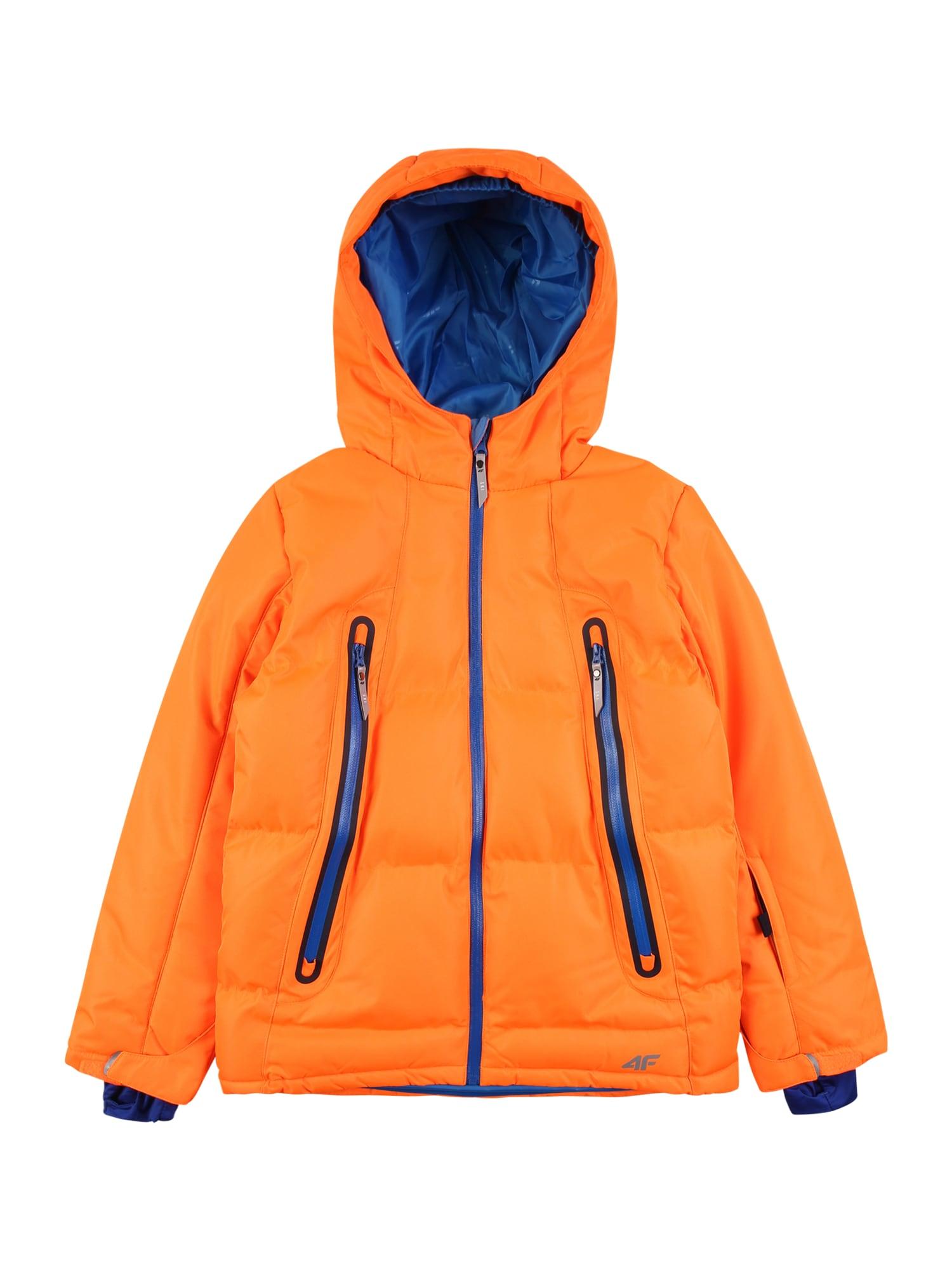 4F Laisvalaikio striukė neoninė oranžinė / tamsiai mėlyna jūros spalva