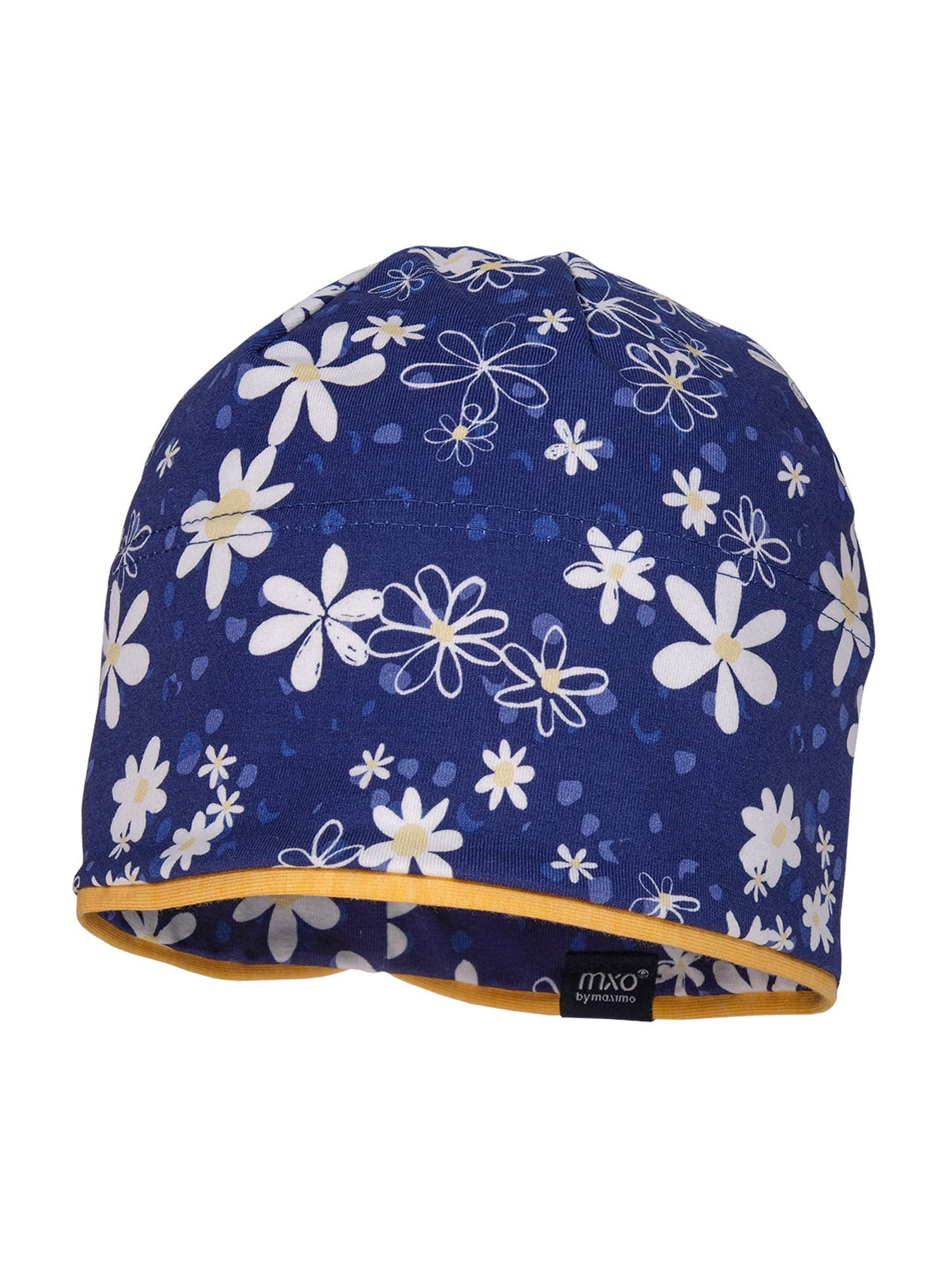 """MAXIMO Megzta kepurė tamsiai mėlyna jūros spalva / balta / mandarinų spalva / sodri mėlyna (""""karališka"""") / šviesiai geltona"""