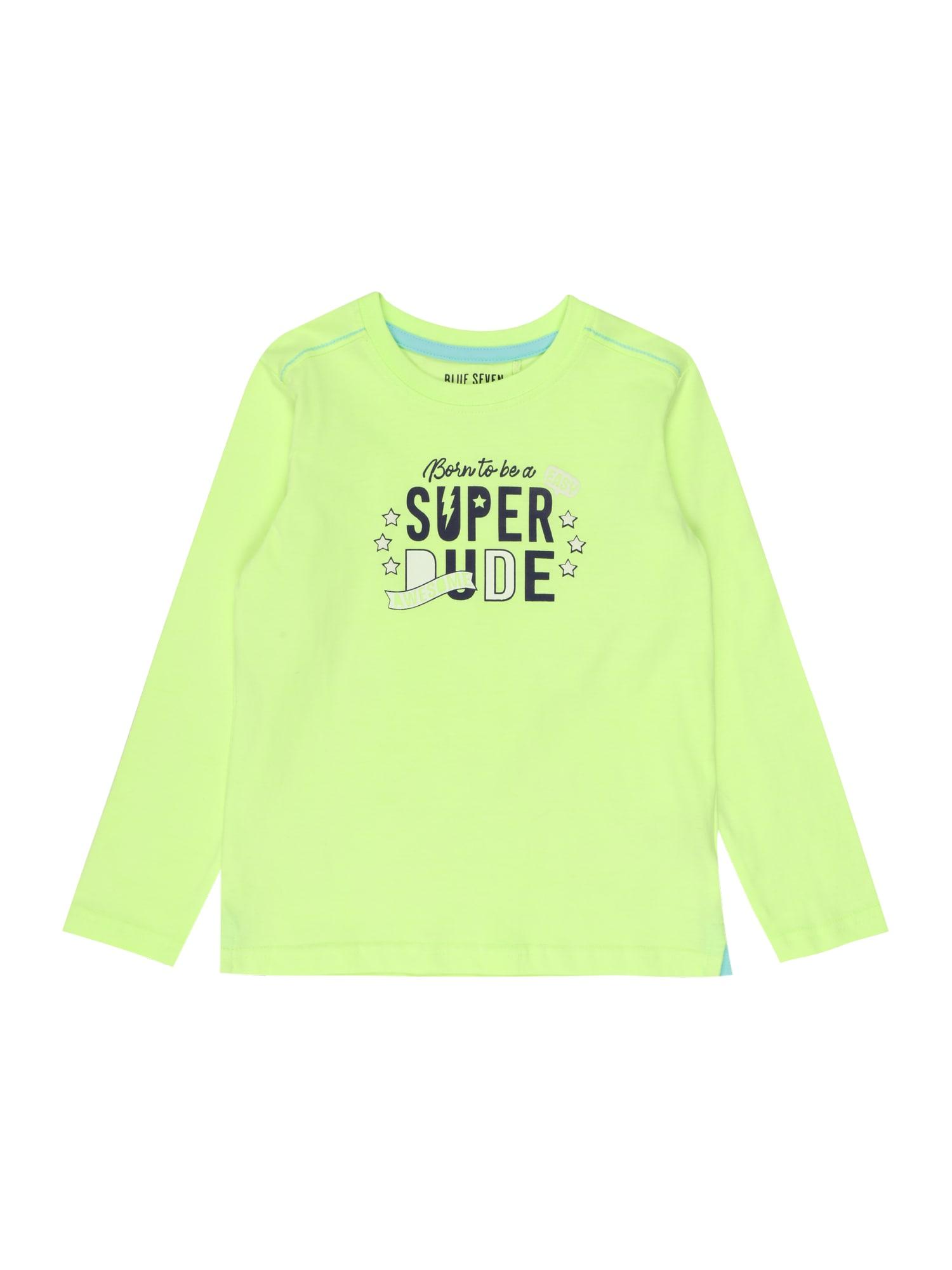 BLUE SEVEN Marškinėliai šviesiai žalia / juoda / balta