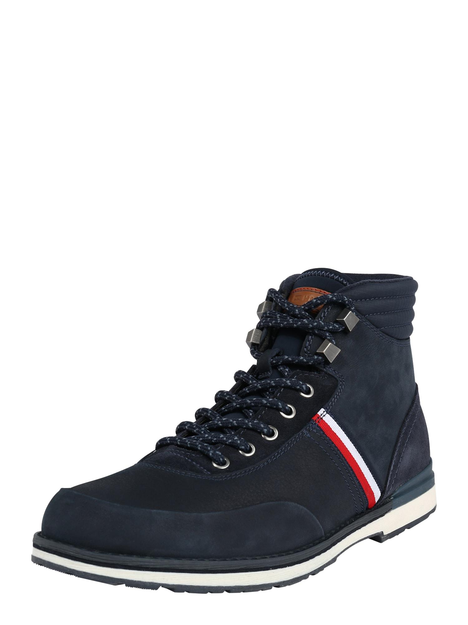 TOMMY HILFIGER Šněrovací boty  tmavě modrá / bílá / červená
