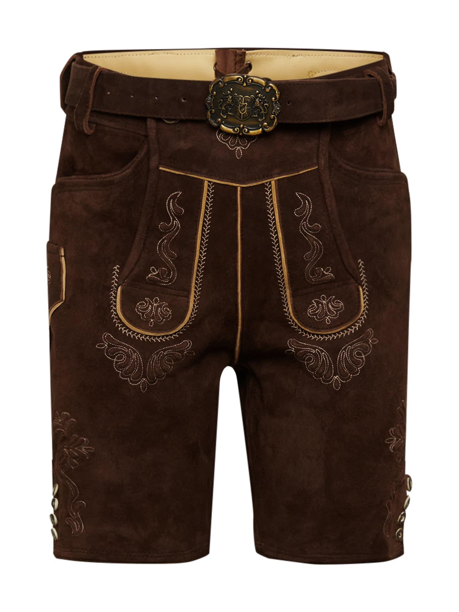 ALMSACH Kelnės su tradiciniais raštais tamsiai ruda