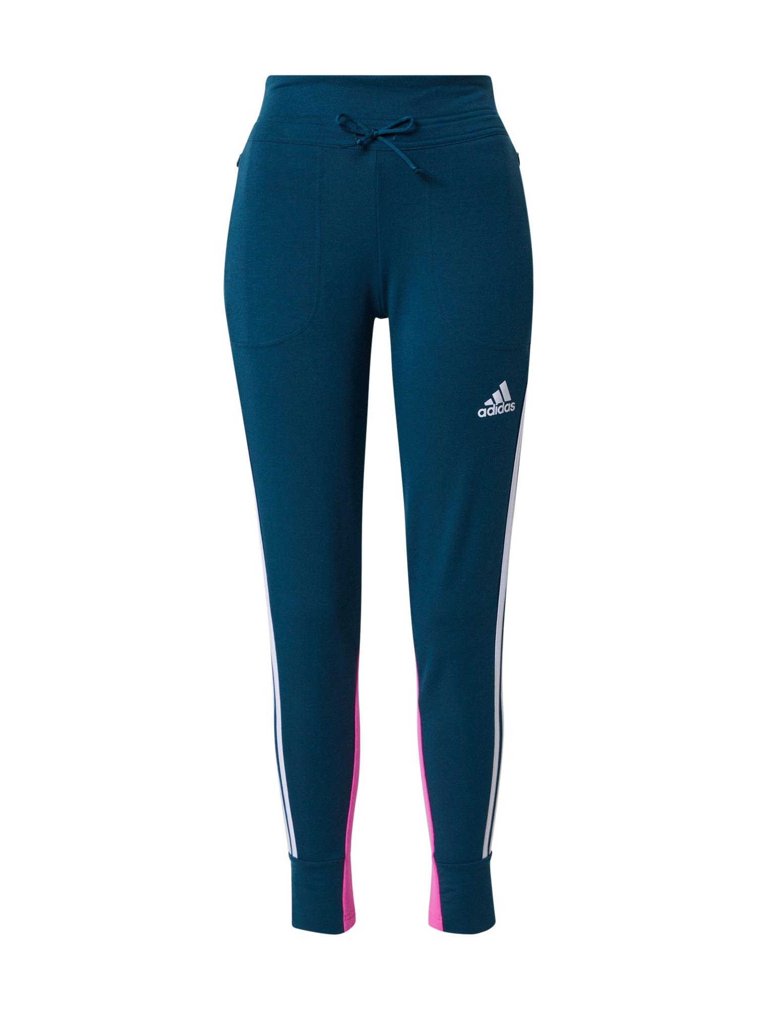 ADIDAS PERFORMANCE Sportovní kalhoty  petrolejová / bílá / pink