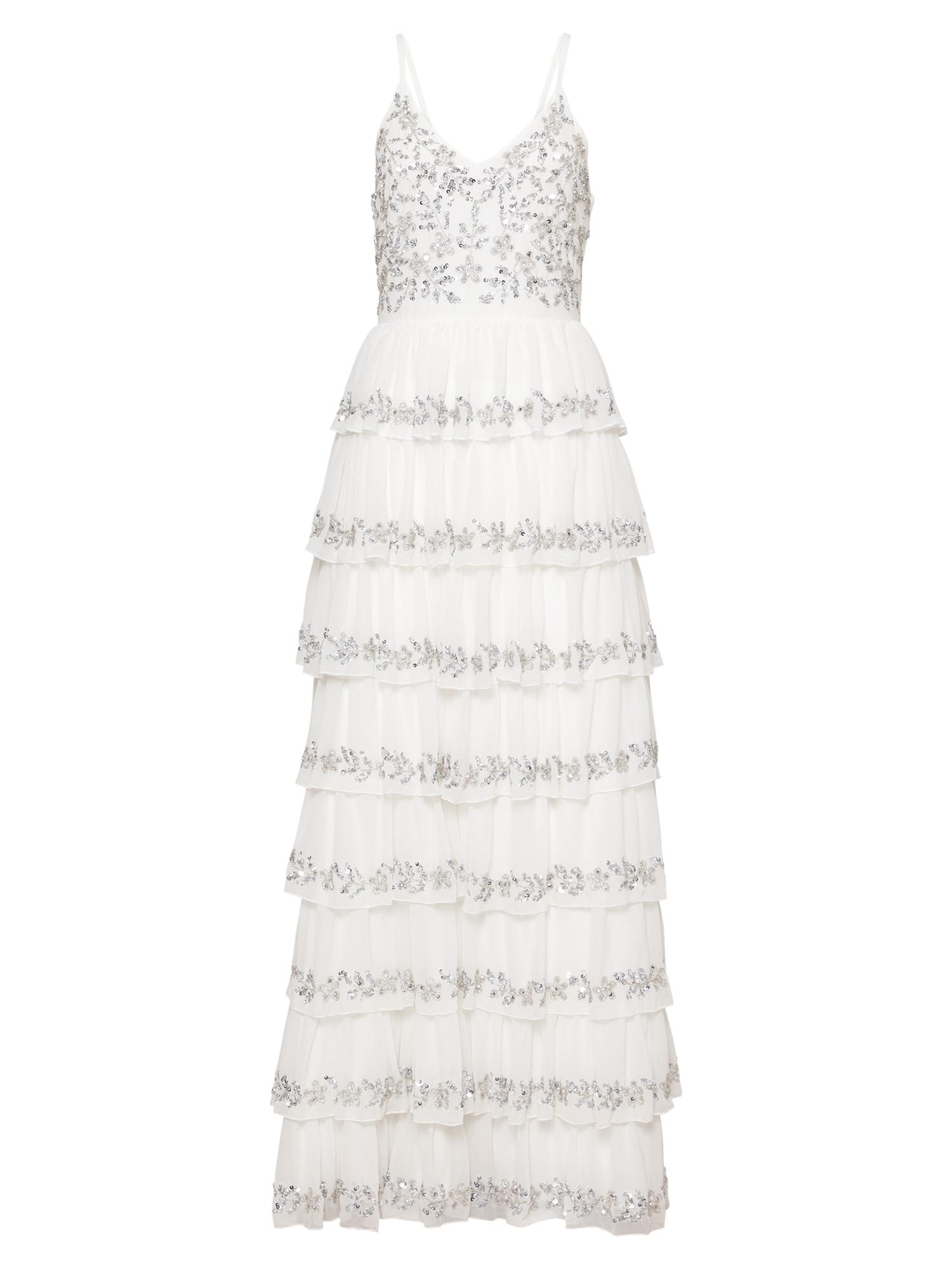 Maya Deluxe Vakarinė suknelė balta / sidabro pilka