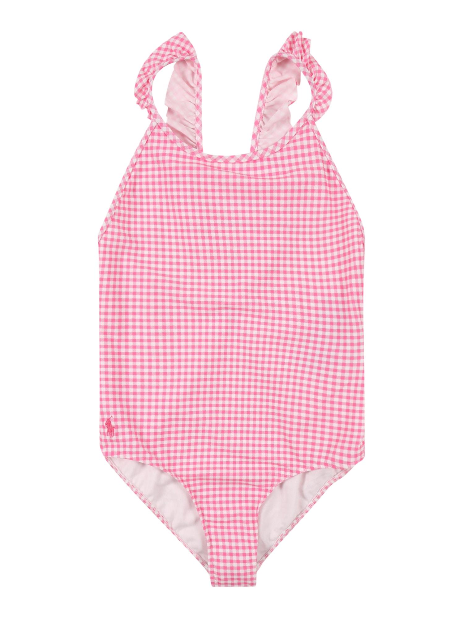 POLO RALPH LAUREN Maudymosi kostiumėlis 'GINGHAM' balta / rožinė