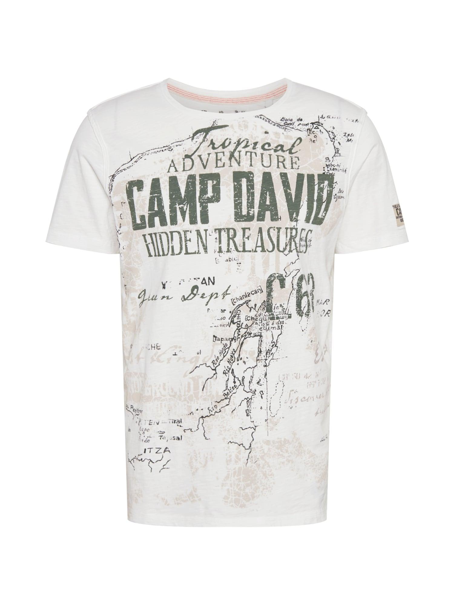 CAMP DAVID Marškinėliai balta / purvo spalva / šviesiai pilka / rusvai žalia