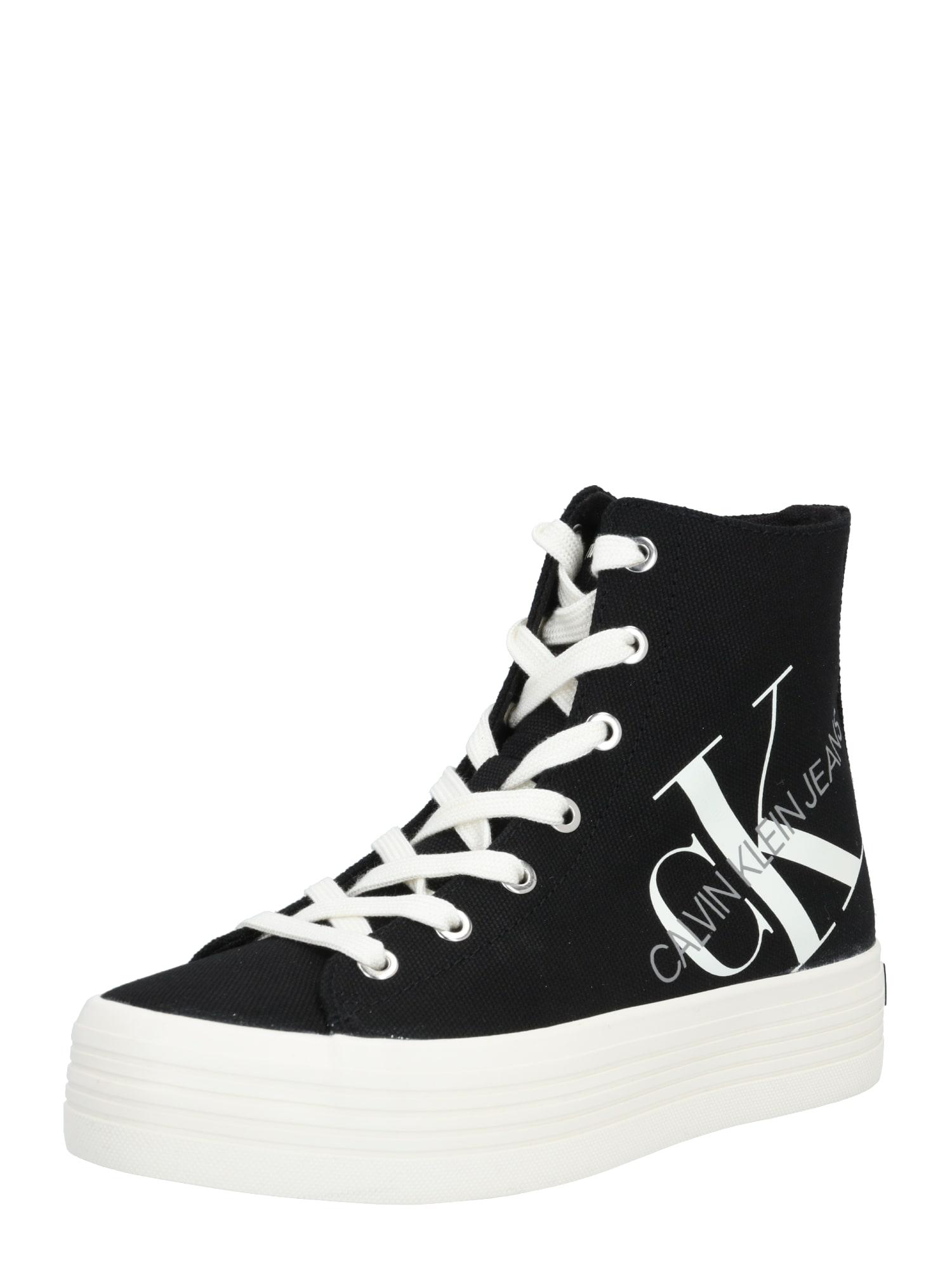 Calvin Klein Jeans Sportbačiai su auliuku 'ZOREDA' juoda / balta