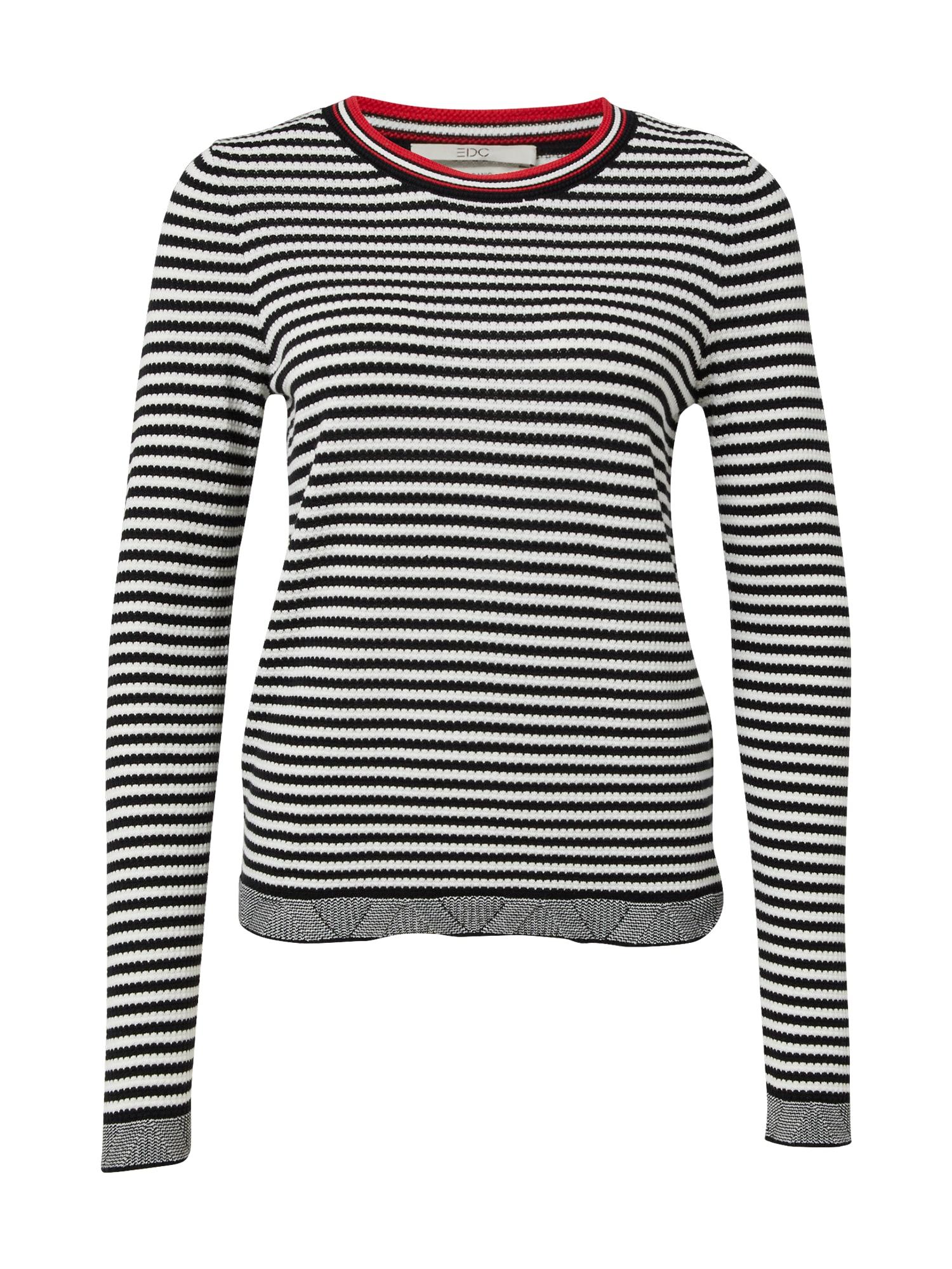 EDC BY ESPRIT Megztinis juoda / balta / šviesiai raudona