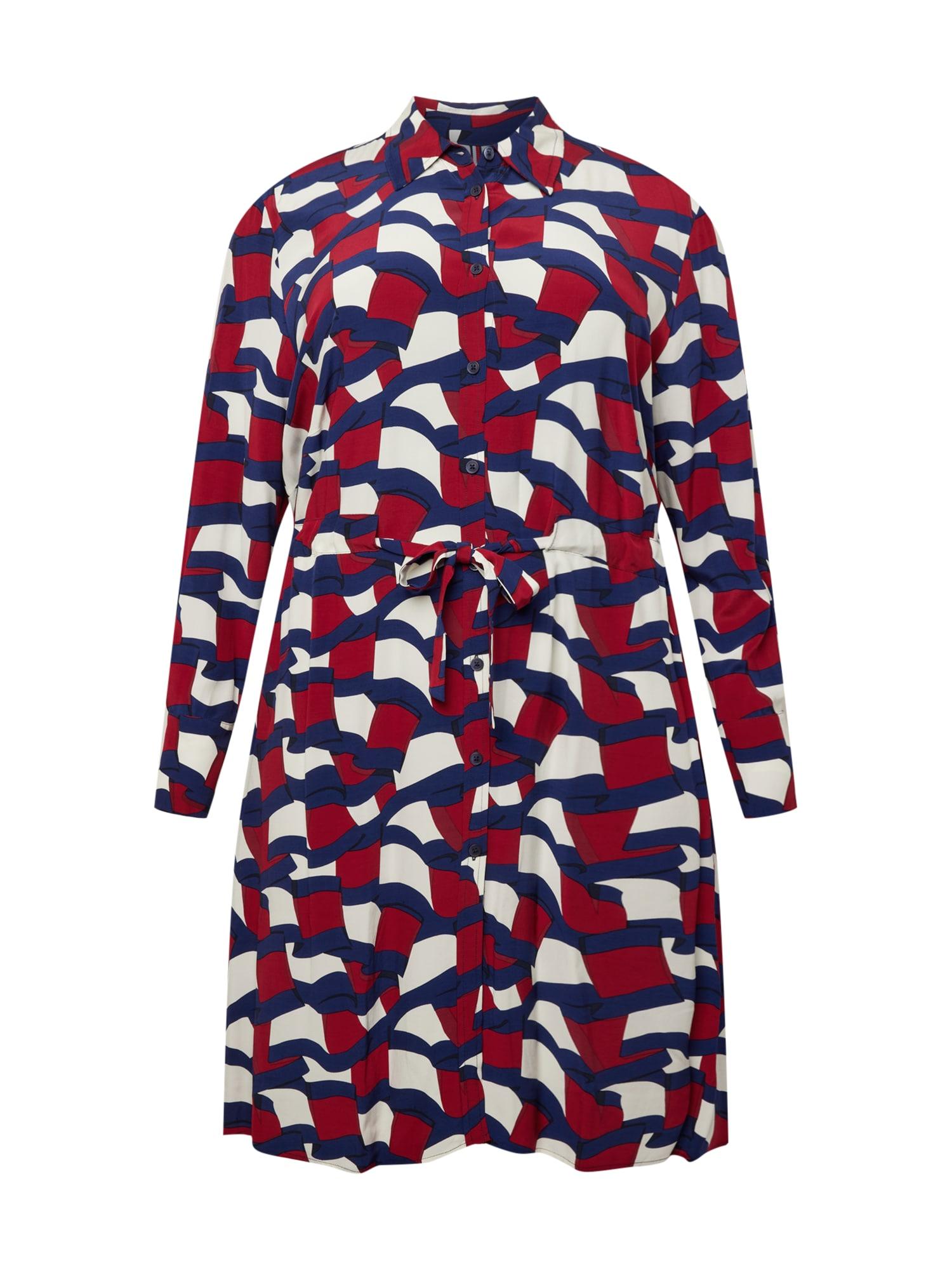 Tommy Hilfiger Curve Palaidinės tipo suknelė tamsiai mėlyna / balta / raudona