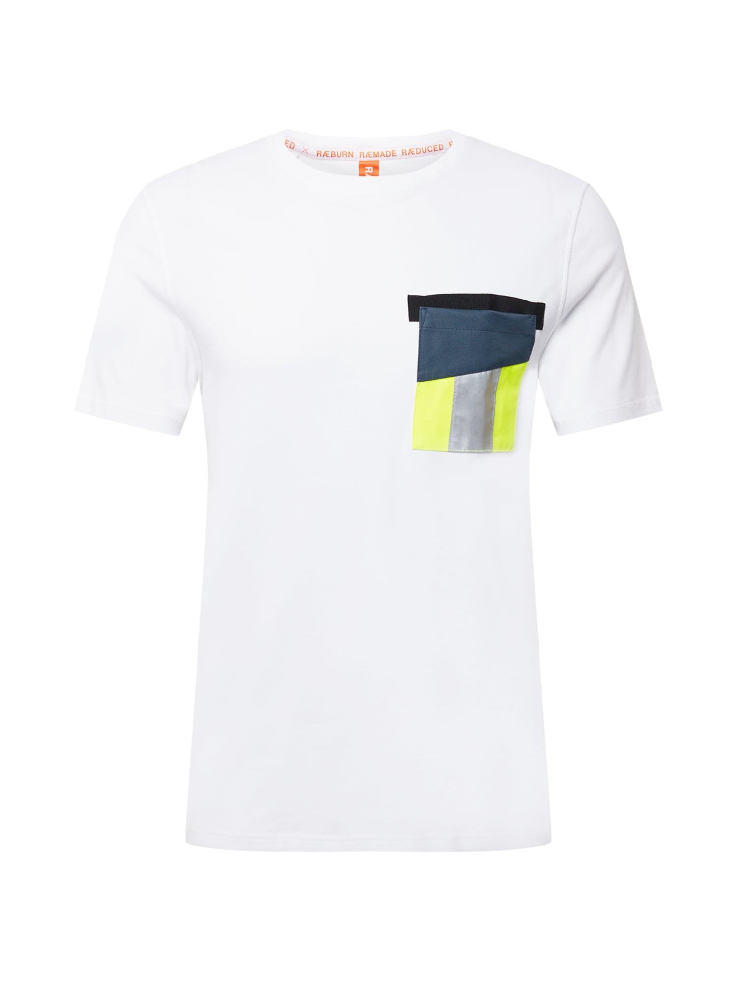 RÆBURN Marškinėliai balta / mėlyna / neoninė geltona / sidabrinė