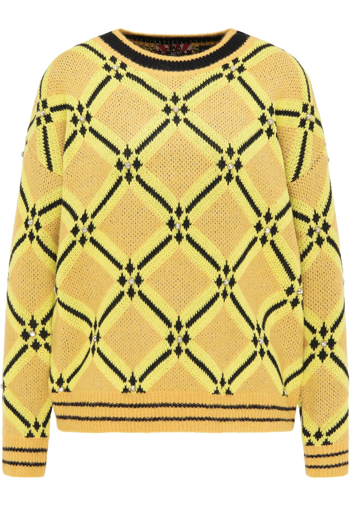 myMo ROCKS Megztinis geltona / aukso geltonumo spalva / juoda
