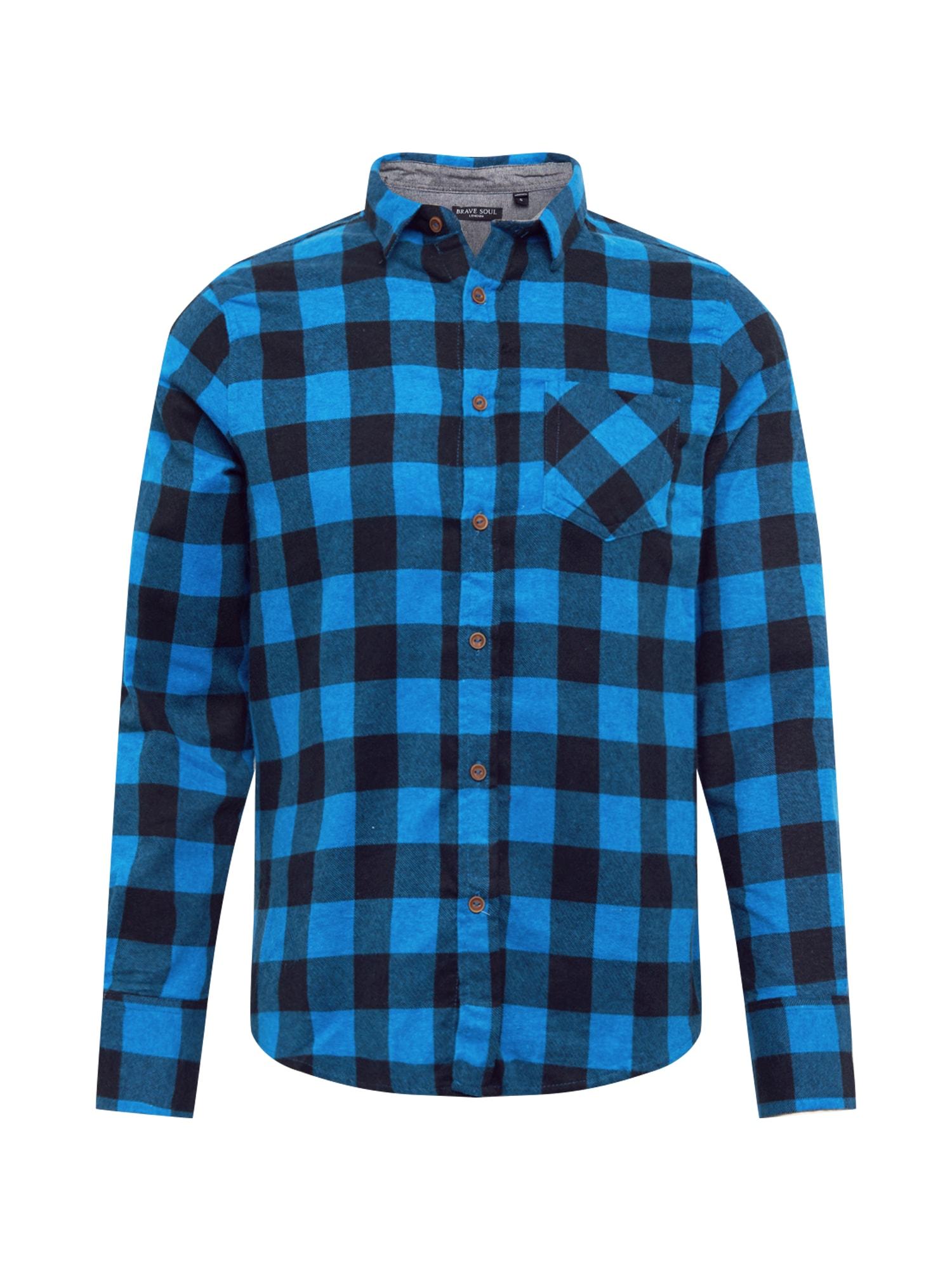 BRAVE SOUL Košeľa 'Jack'  čierna / modrá
