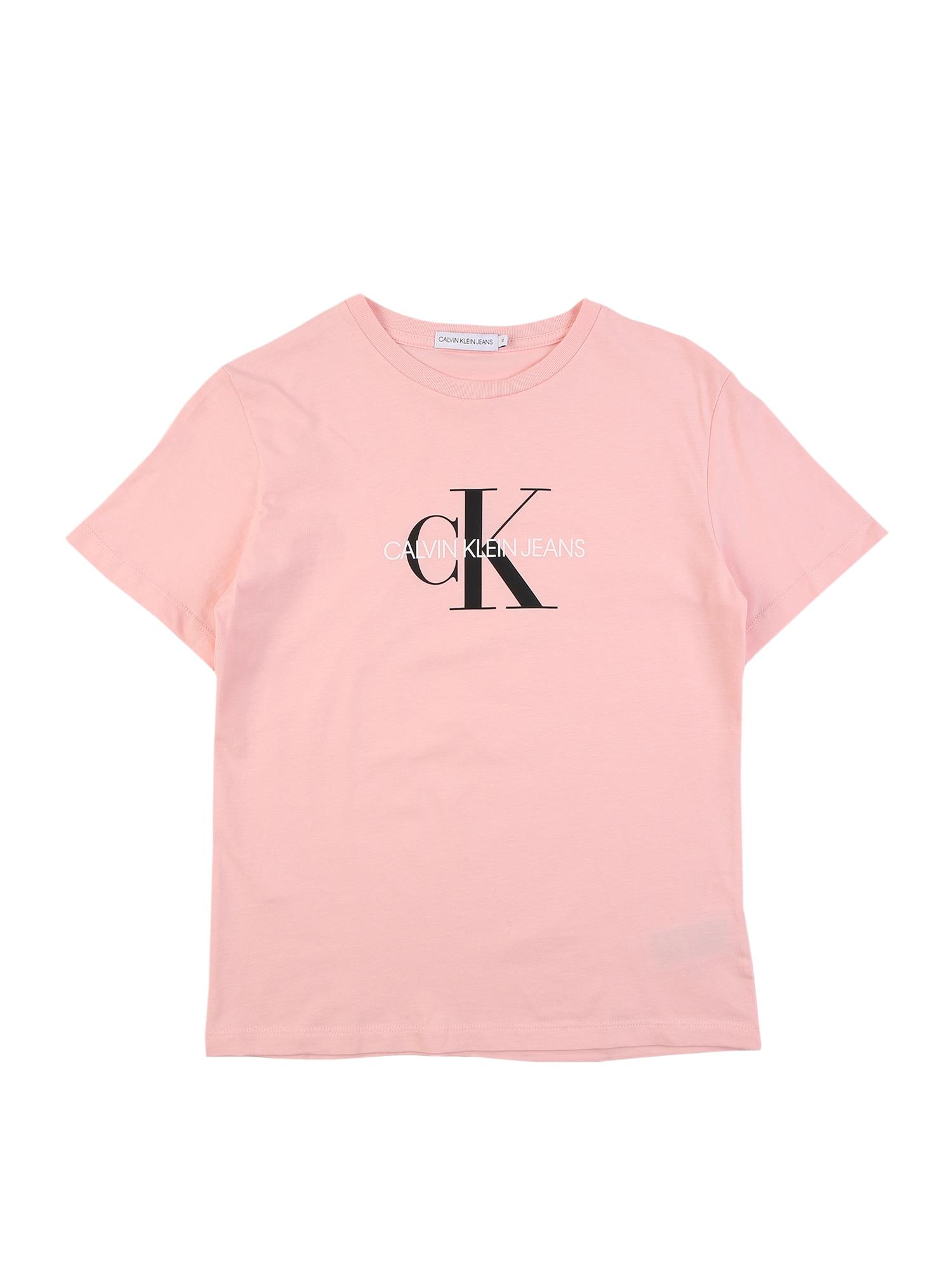 Calvin Klein Jeans Marškinėliai rožių spalva / balta / juoda