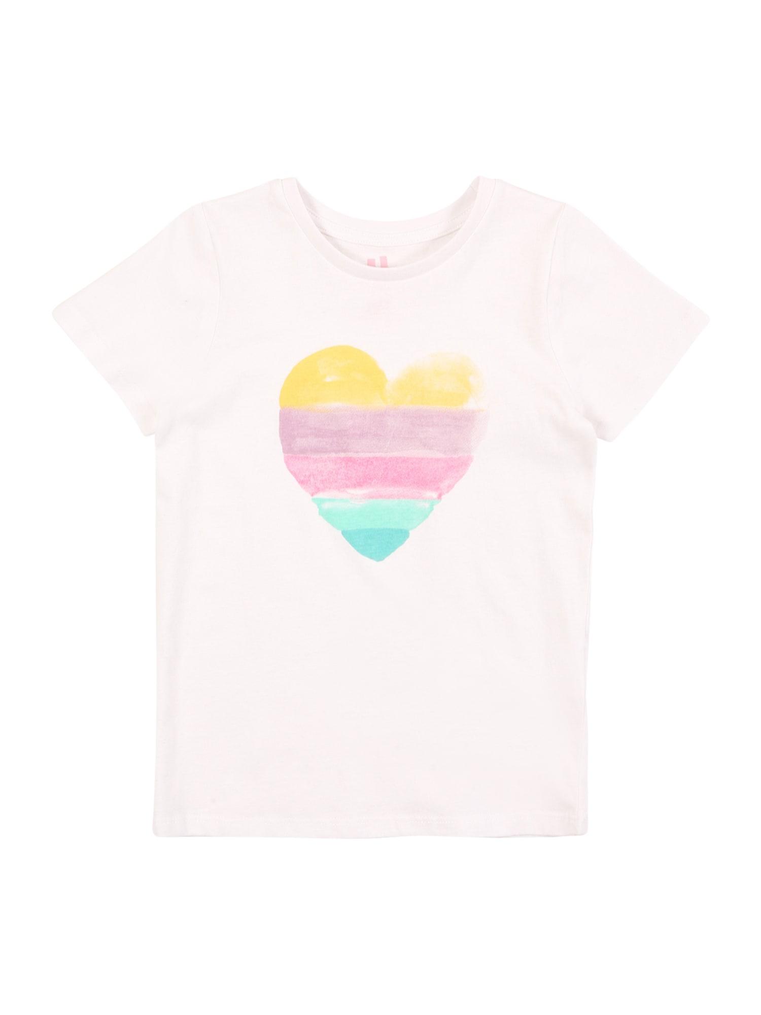 Cotton On Tričko 'Penelope'  bílý melír / tyrkysová / žlutá / světle fialová / pink