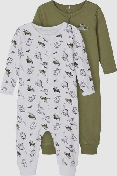Name It Baby Loden-Langarm-Schlafanzug mit Reißverschluss und Dino 2er-Pack