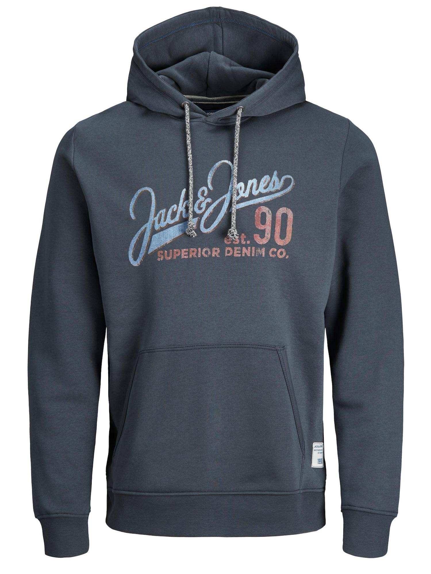 JACK & JONES Megztinis be užsegimo mėlyna / šviesiai mėlyna / ruda