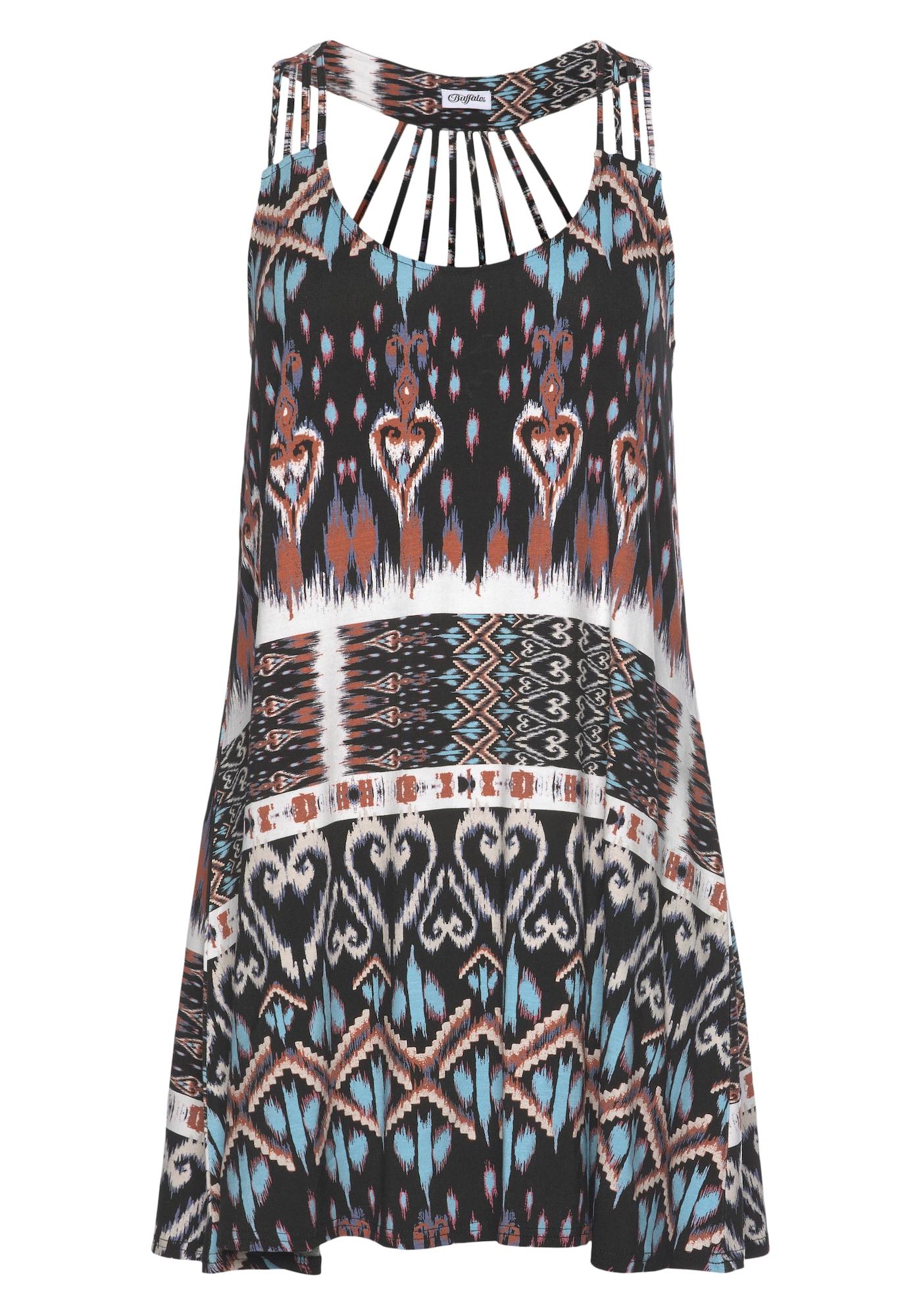 BUFFALO Paplūdimio suknelė juoda / balta / mėlyna / raudona
