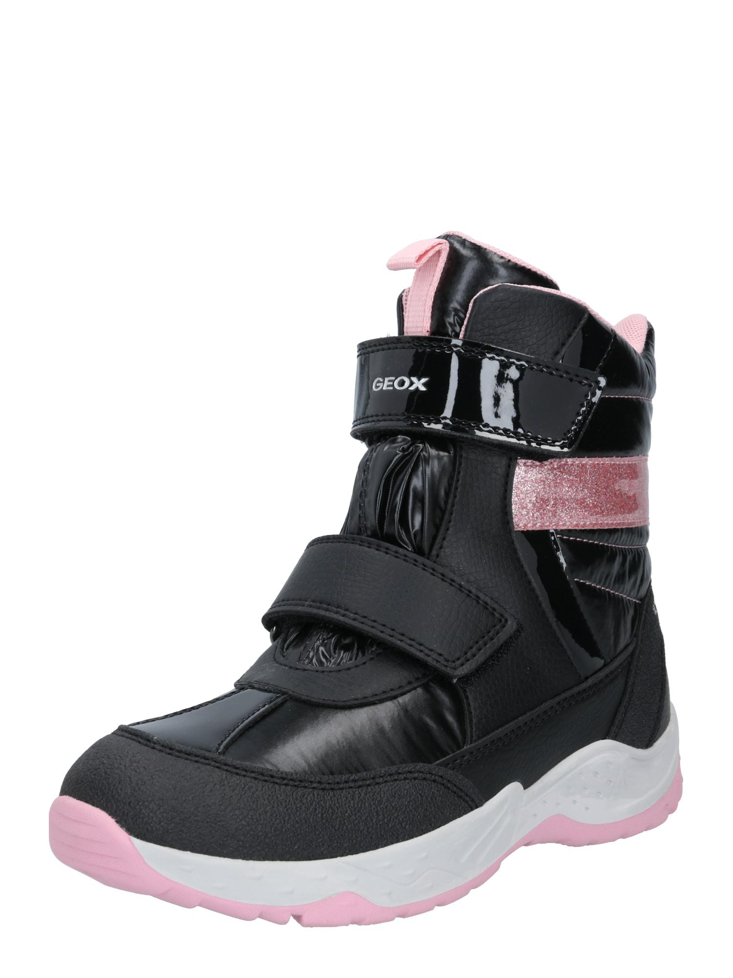 GEOX Sniego batai 'SENTIERO' juoda / šviesiai rožinė