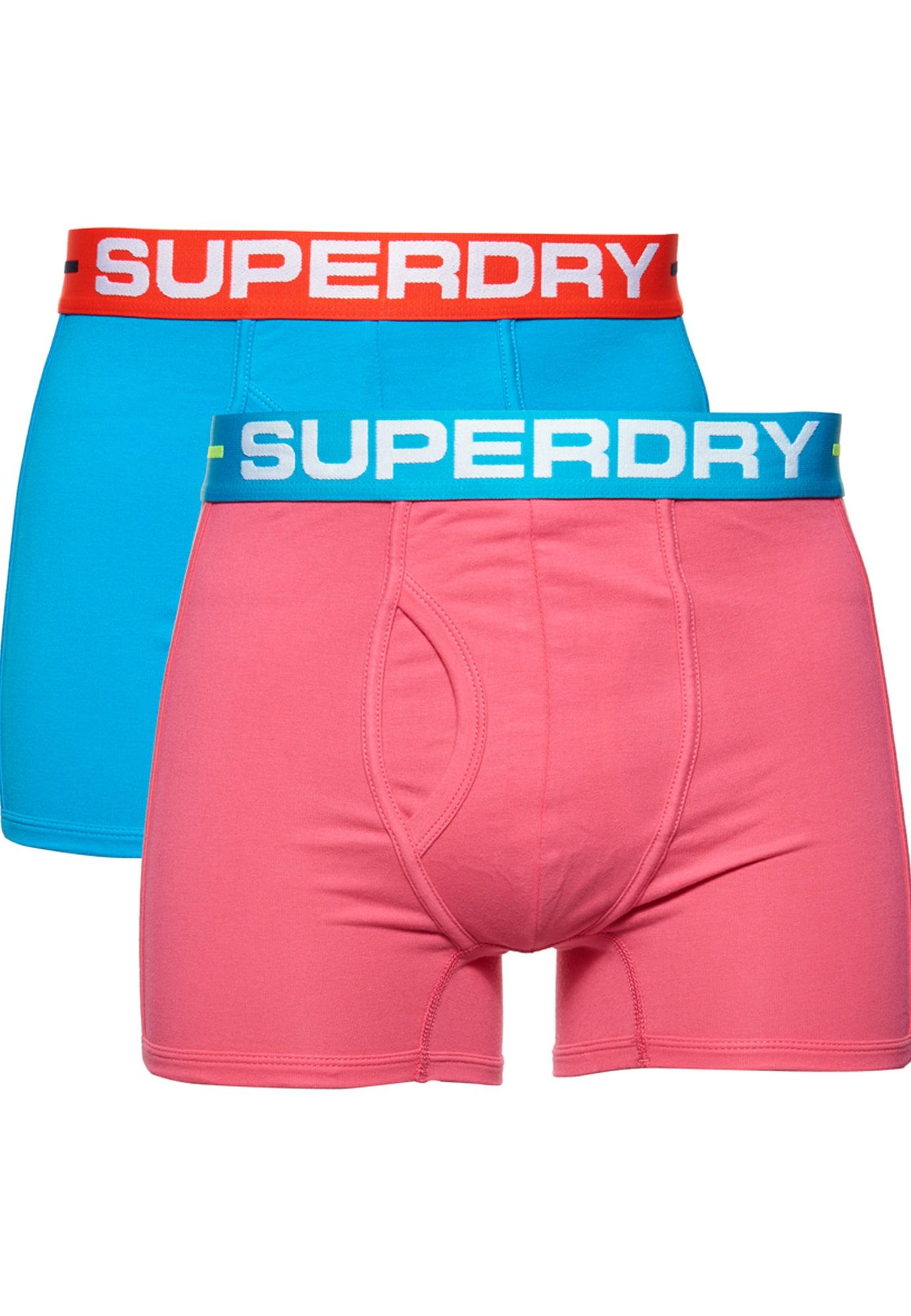 Superdry Boxer trumpikės rožinė / vandens spalva / šviesiai raudona / balta