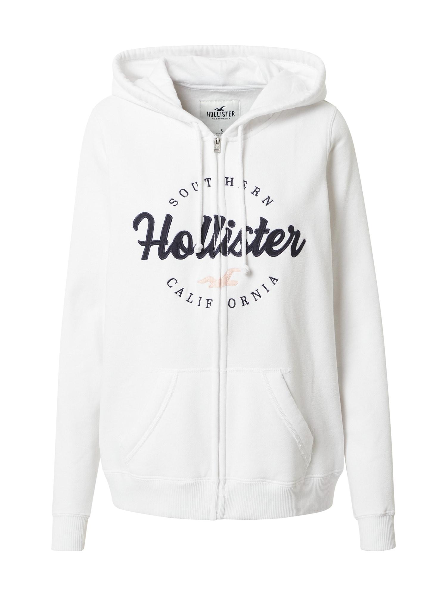 HOLLISTER Džemperis balta / nakties mėlyna