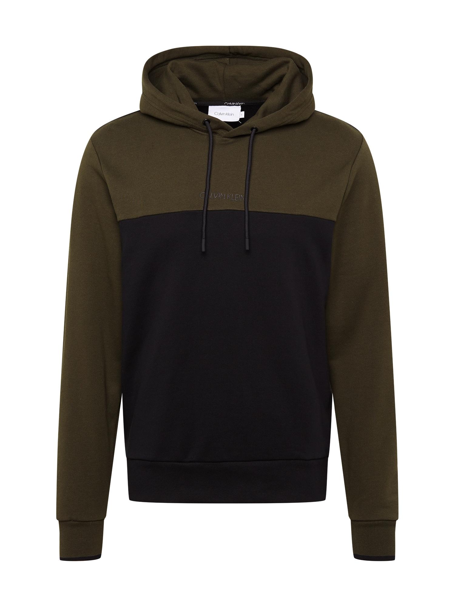 Calvin Klein Megztinis be užsegimo alyvuogių spalva / juoda