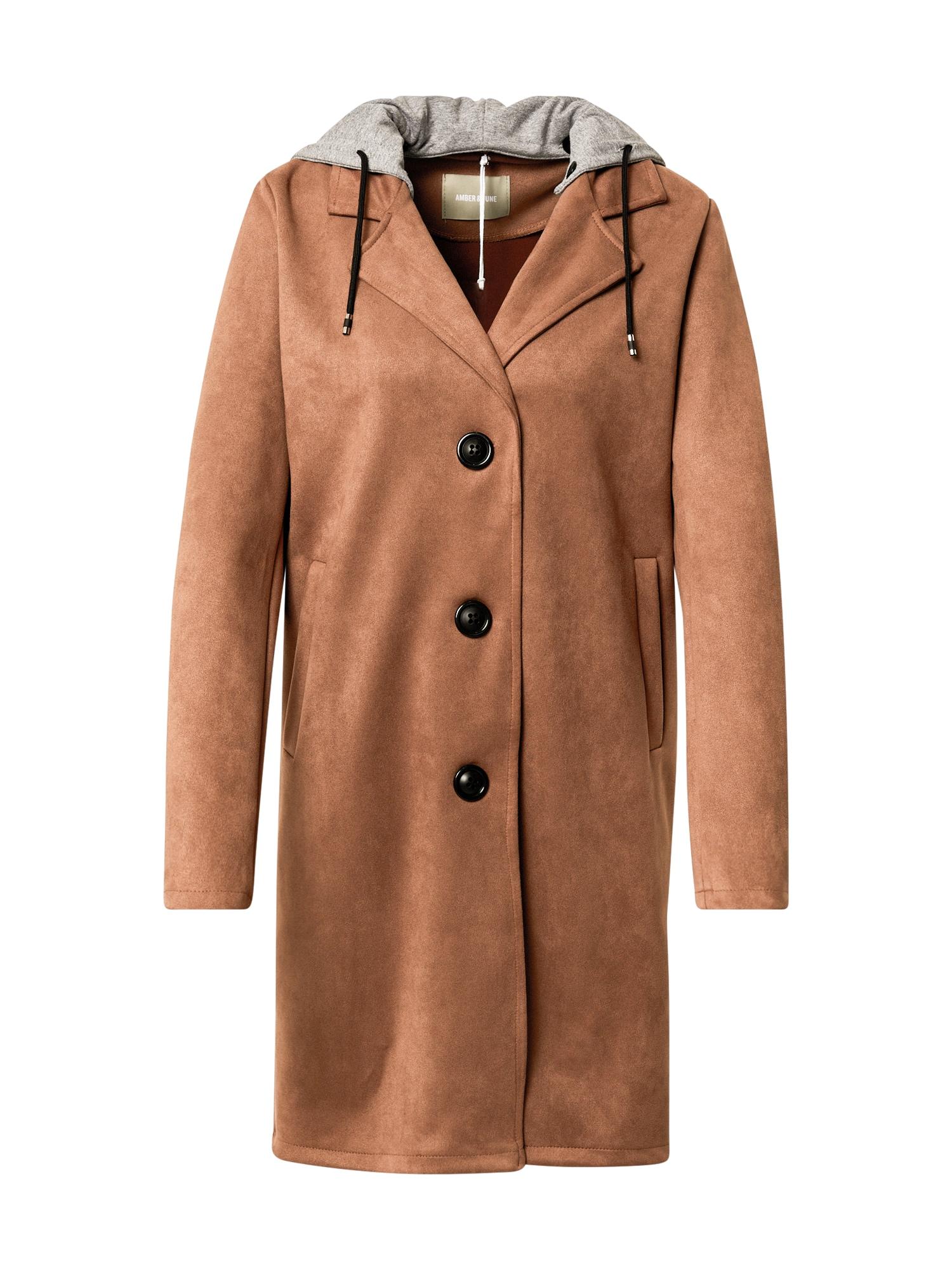 Amber & June Demisezoninis paltas tamsiai pilka / smėlio spalva
