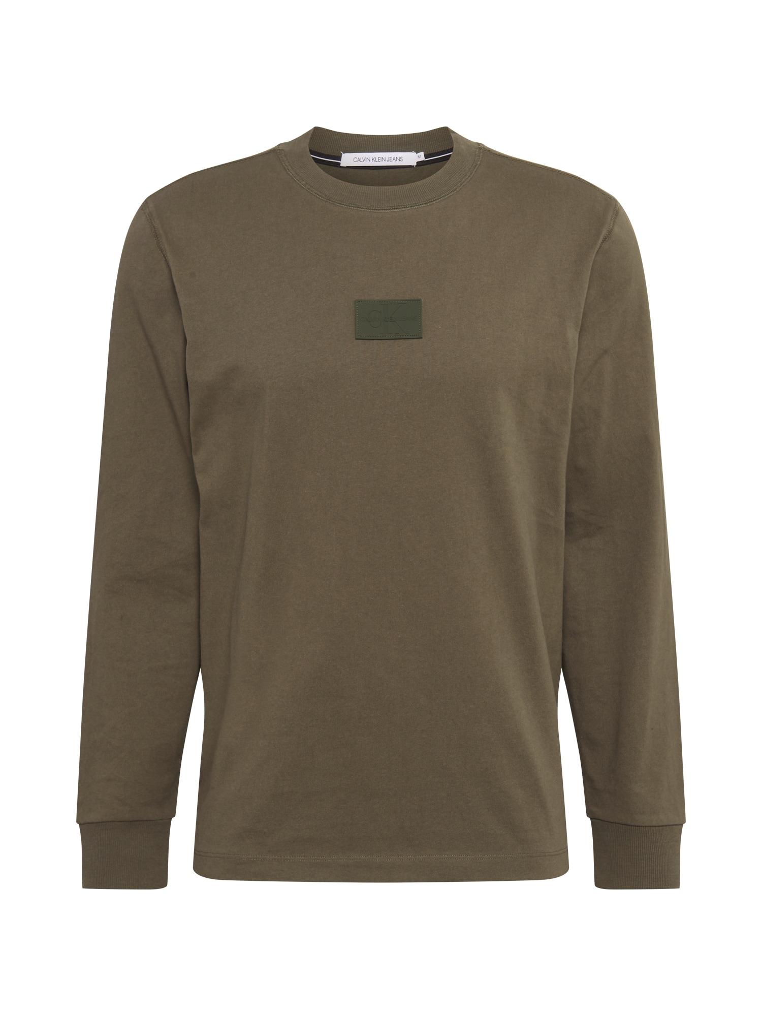 Calvin Klein Jeans Mikina 'CENTER BADGE'  tmavě zelená