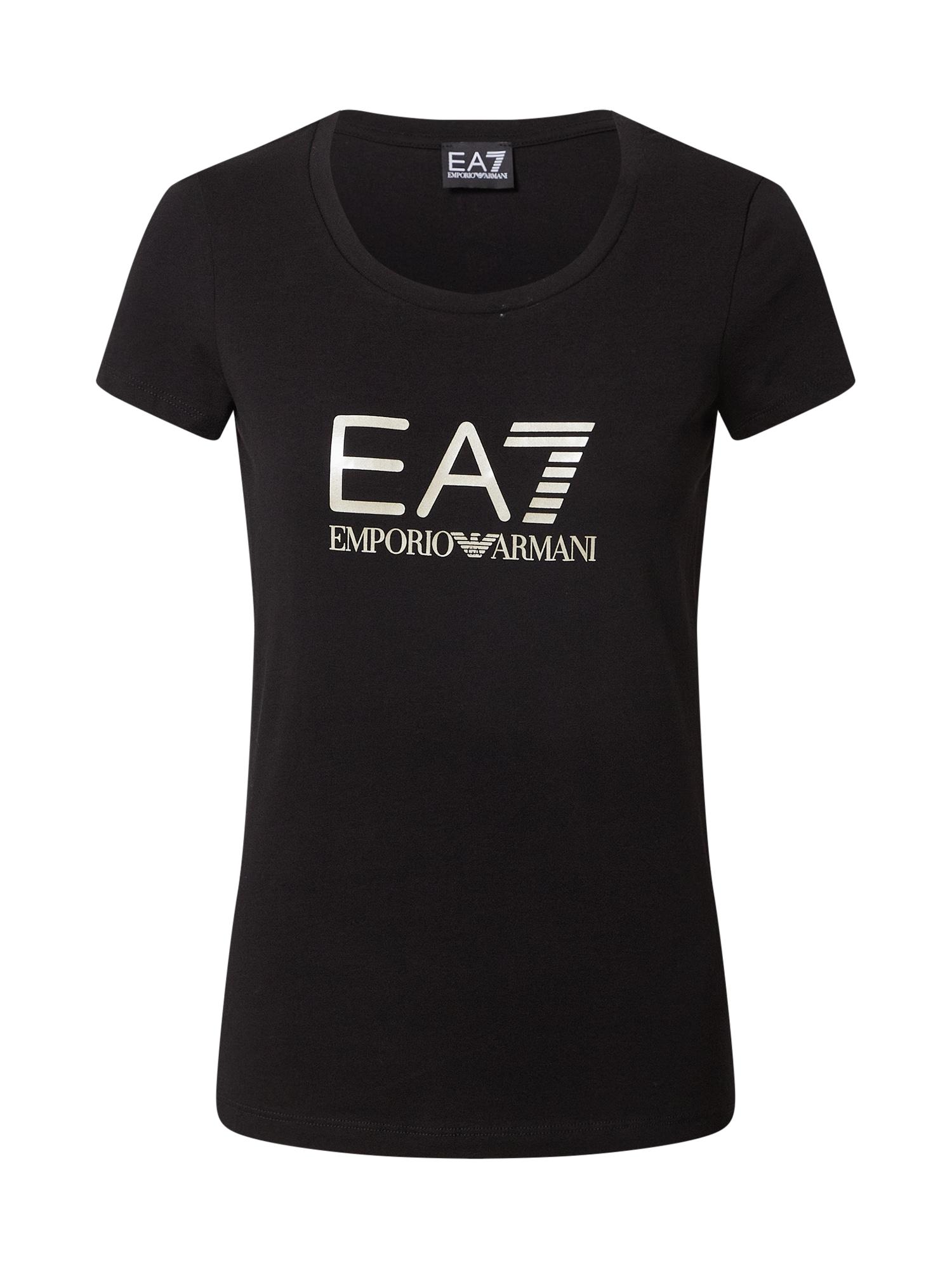 EA7 Emporio Armani Marškinėliai juoda / balta