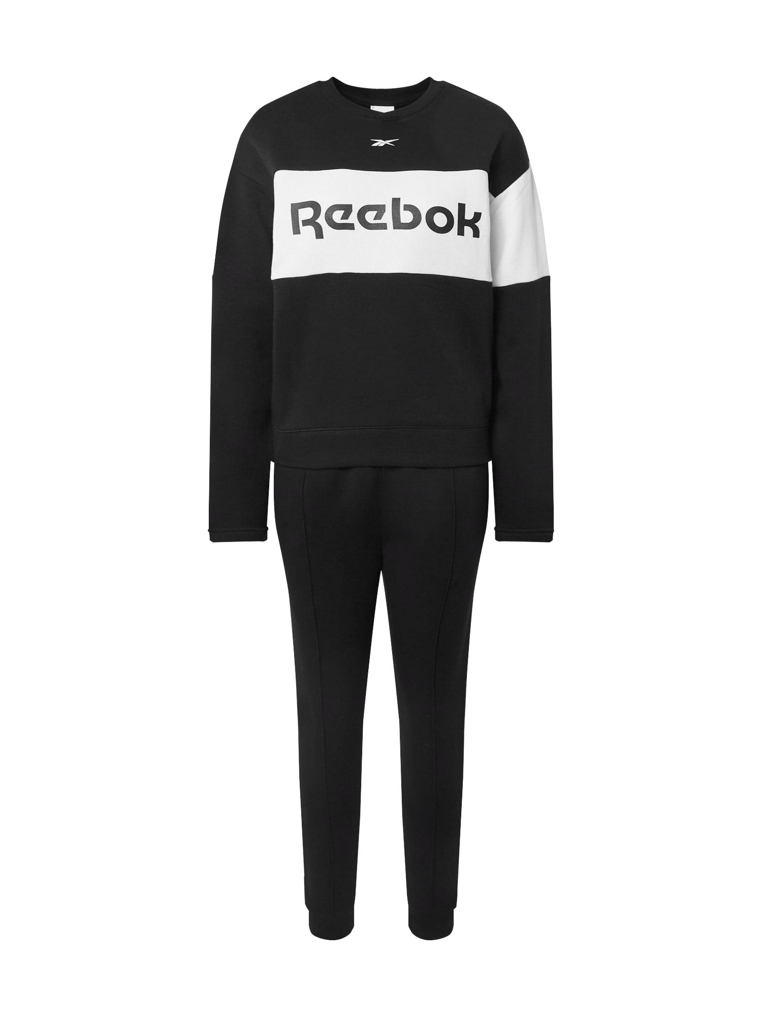 REEBOK Treniruočių kostiumas juoda / balta