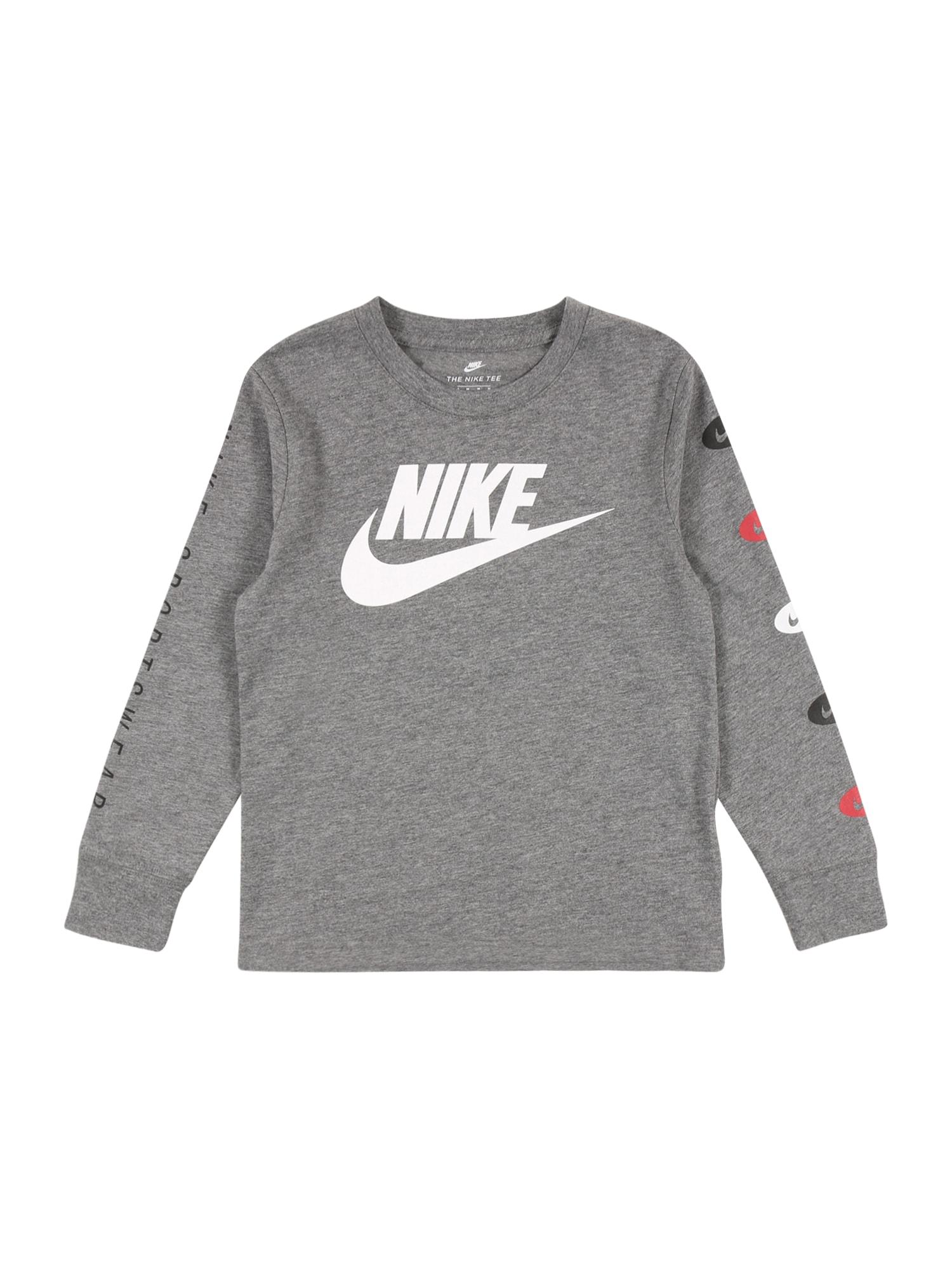 Nike Sportswear Tričko  šedý melír / bílá / černá / červená