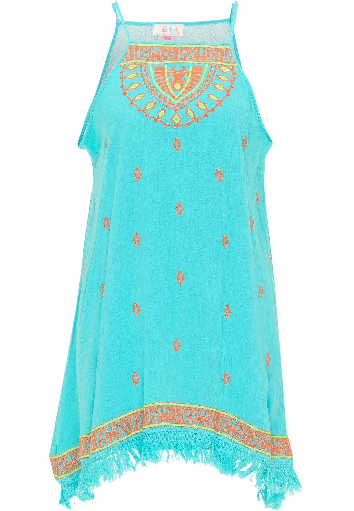 IZIA Vasarinė suknelė turkio spalva / tamsiai oranžinė / kivių spalva