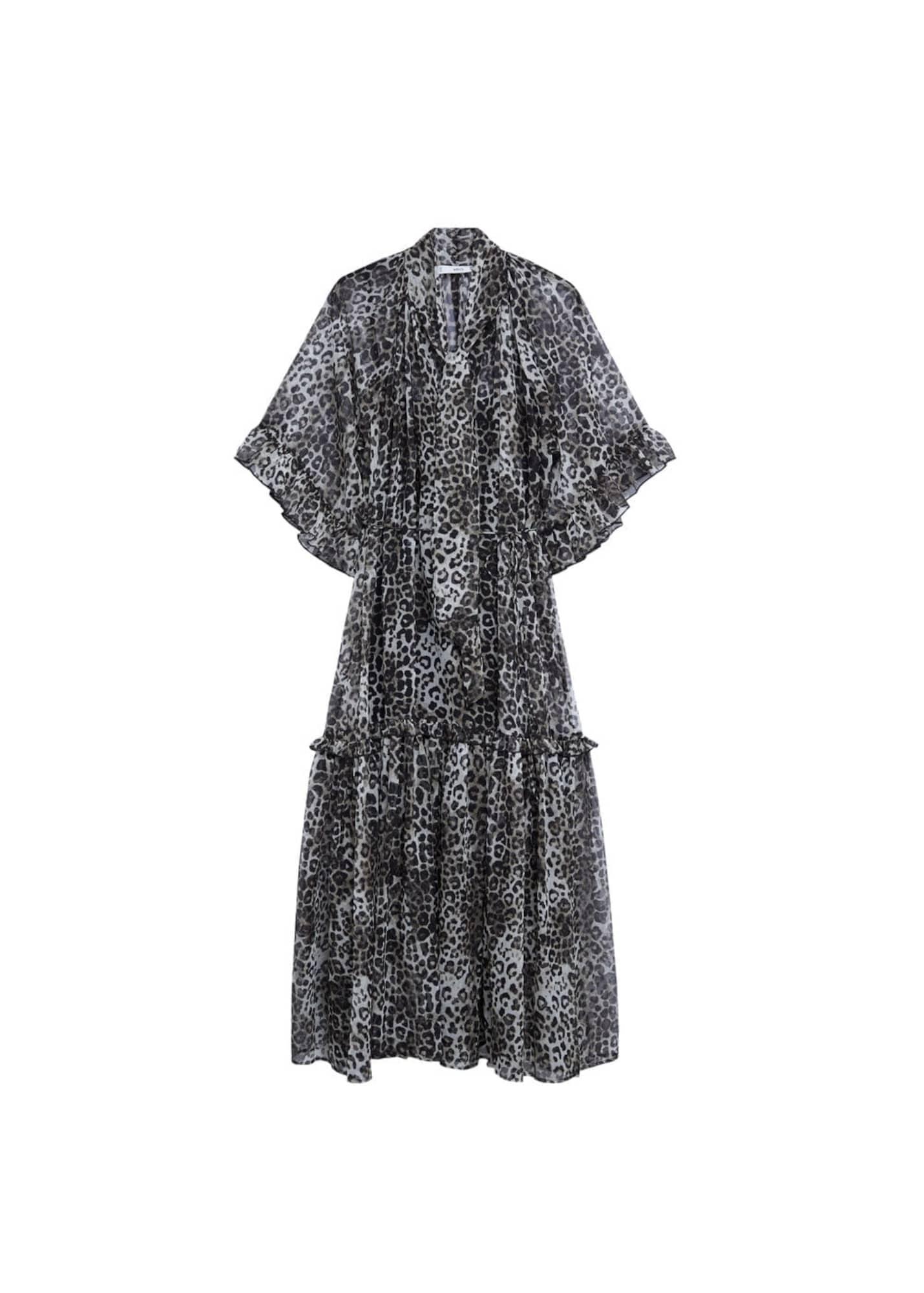 MANGO Košilové šaty 'Leone'  černá / světle šedá